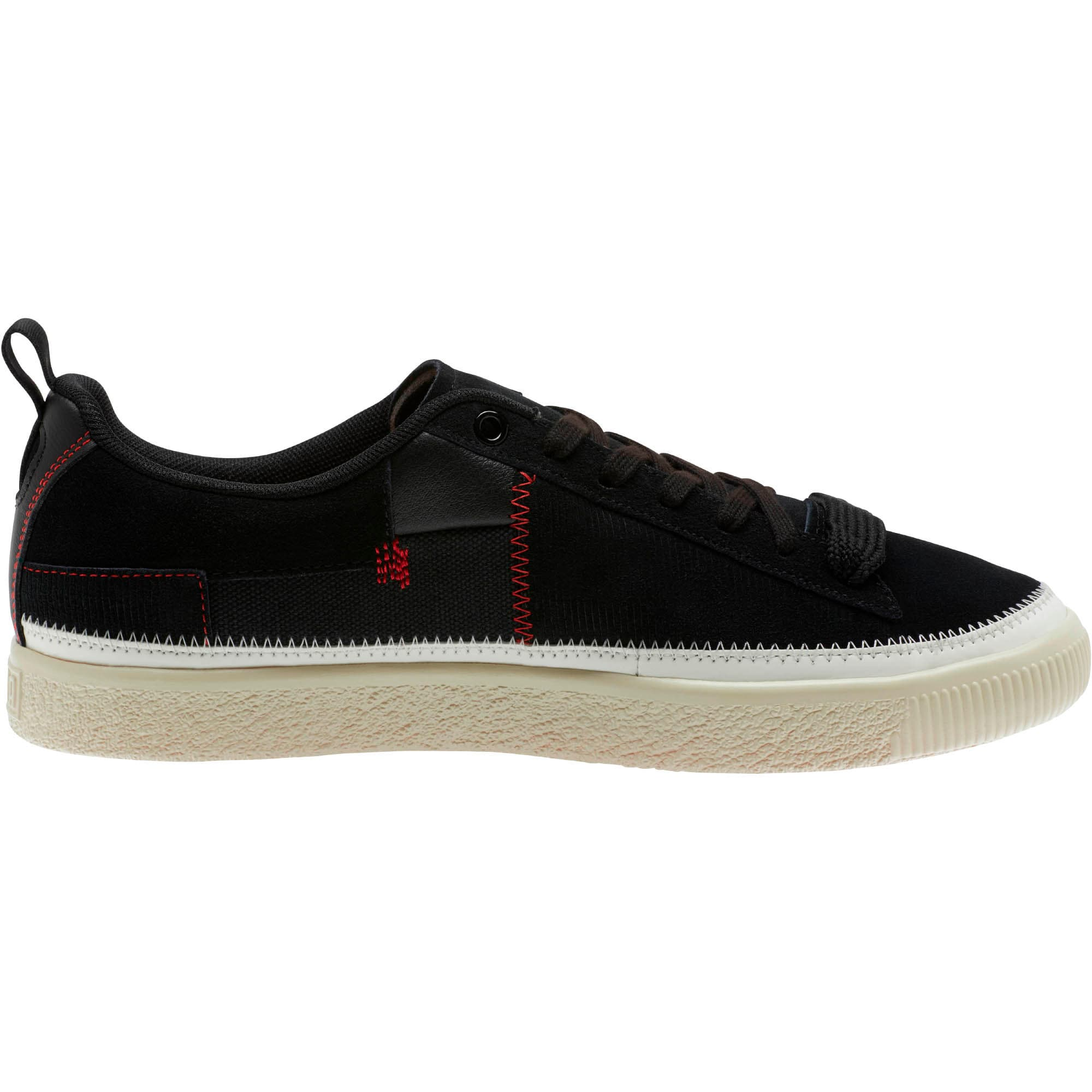 Thumbnail 4 of Clyde #REFORM Sneakers, Black-Whisper White- Red, medium