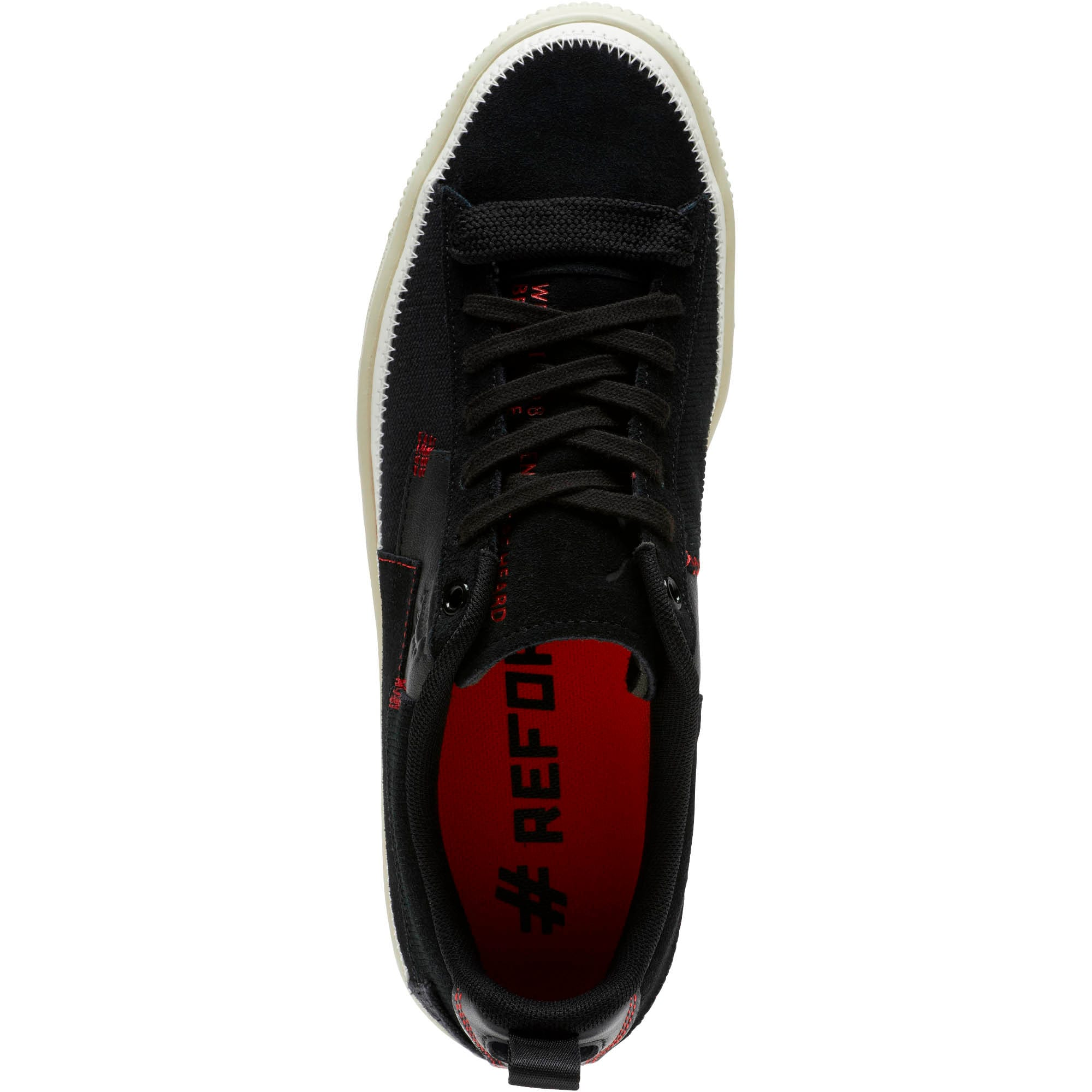 Thumbnail 5 of Clyde #REFORM Sneakers, Black-Whisper White- Red, medium