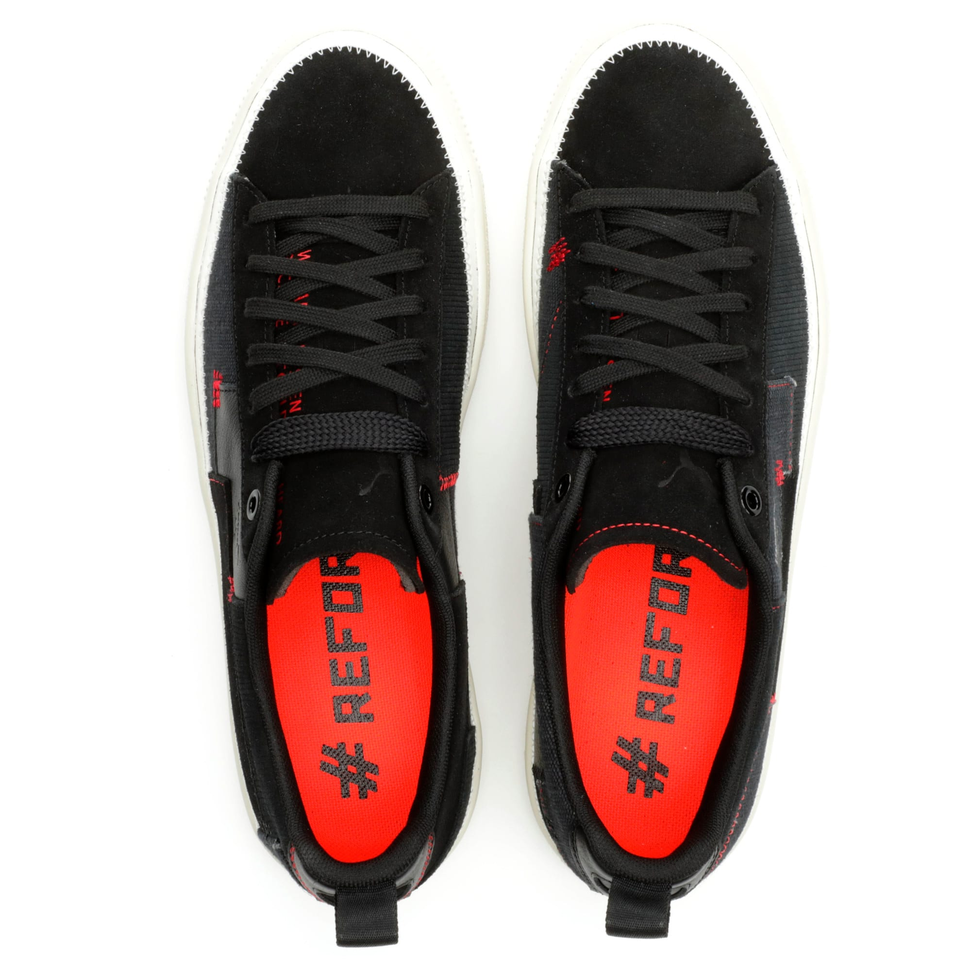 Thumbnail 6 of Clyde #REFORM Sneakers, Black-Whisper White- Red, medium