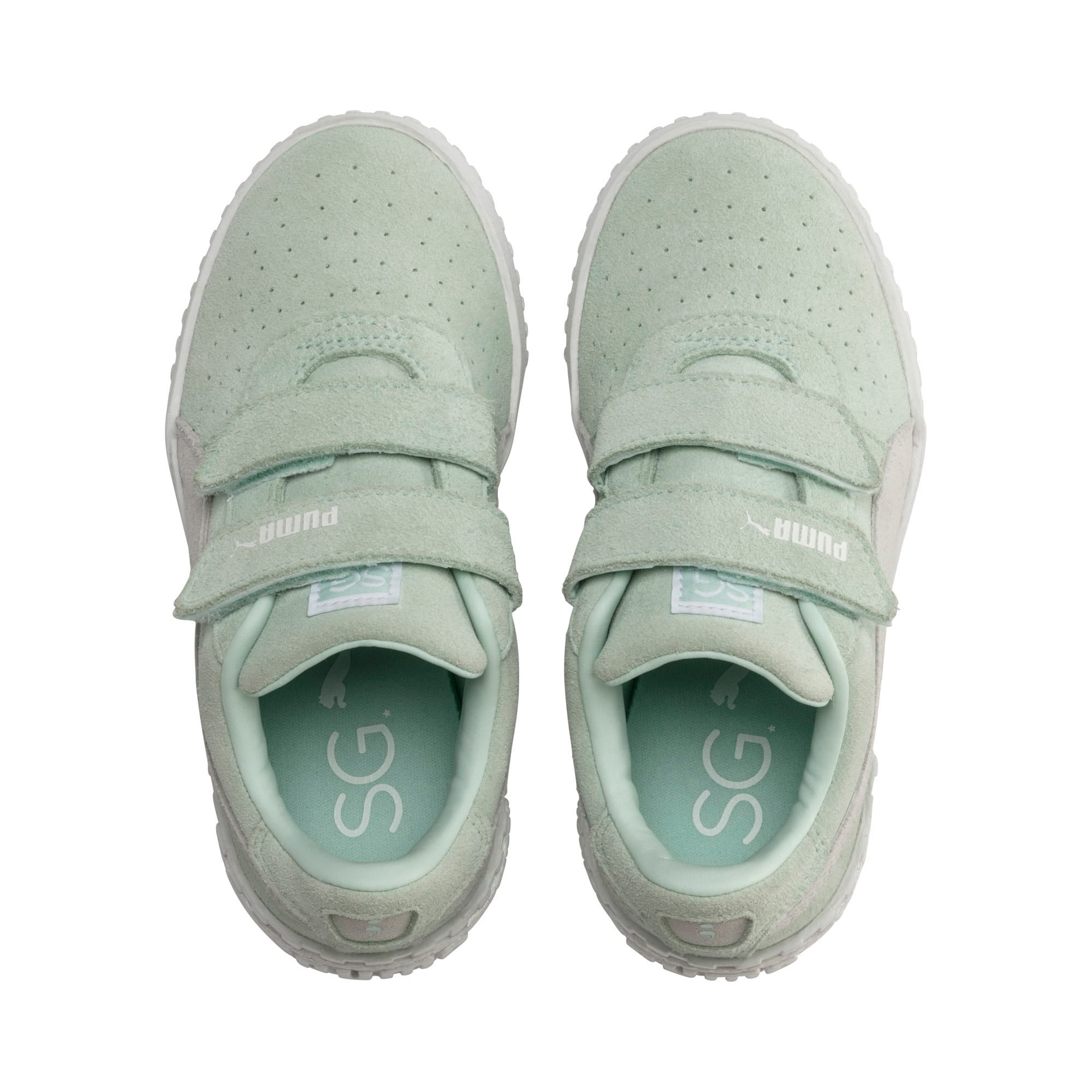 Thumbnail 6 of PUMA x Selena Gomez Kids' Cali Patent Trainers, Fair Aqua-Puma White, medium