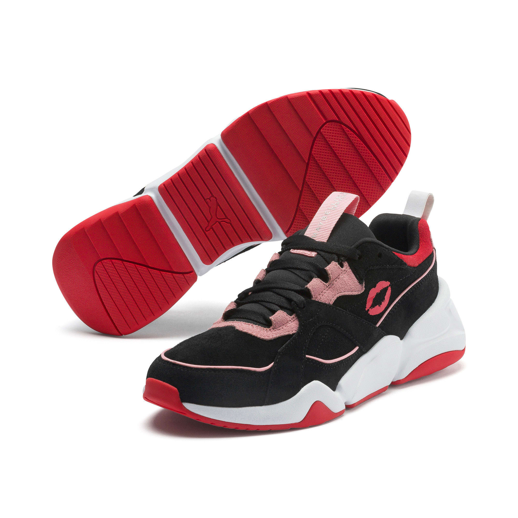Thumbnail 2 of PUMA x MAYBELLINE Nova Women's Trainers, Puma Black-Candy Pink, medium