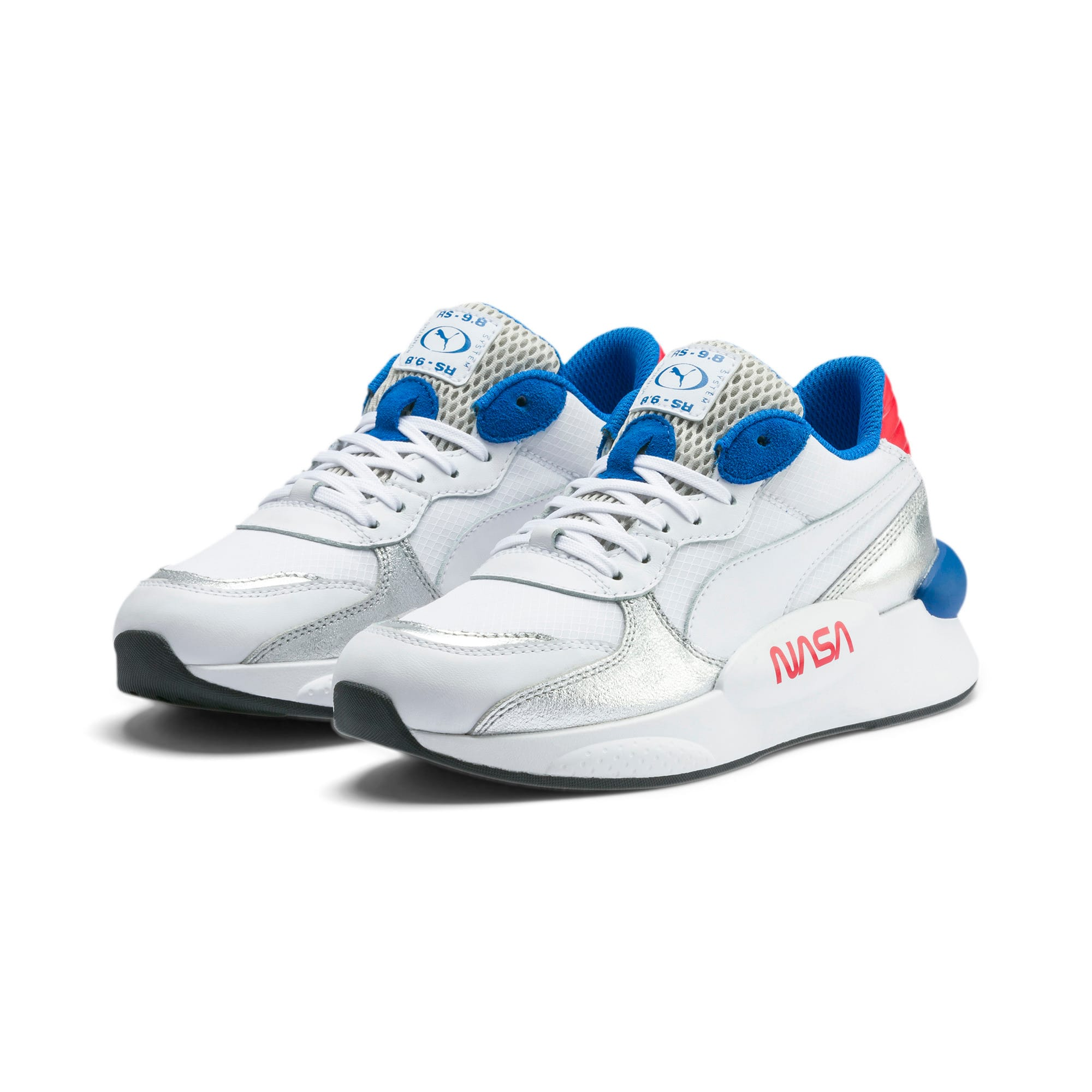 Thumbnail 2 of RS 9.8 Space Explorer Youth Trainers, Puma White-Puma Silver, medium