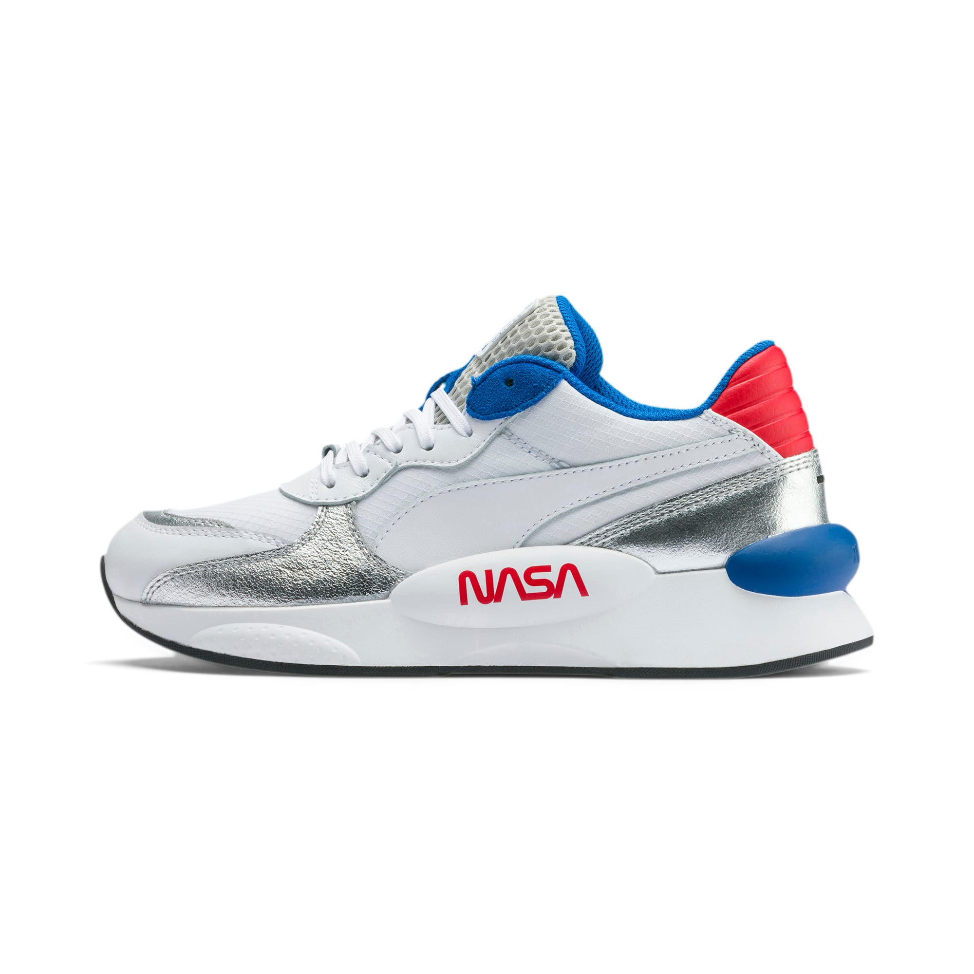 Thumbnail 1 of RS 9.8 Space Explorer Youth Trainers, Puma White-Puma Silver, medium