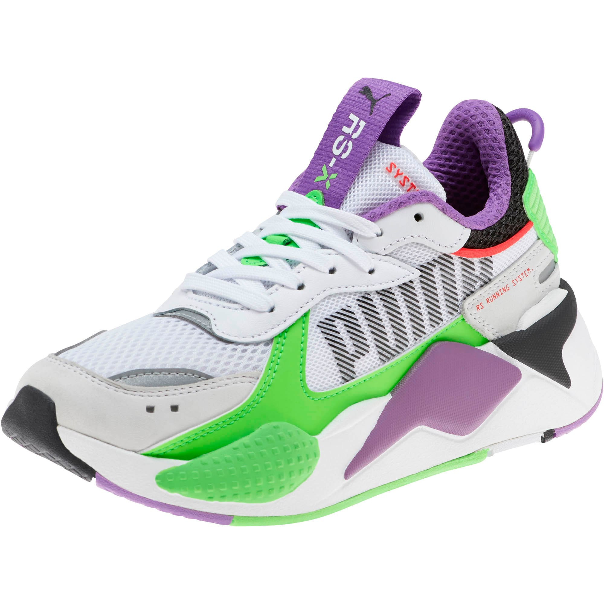 Thumbnail 1 of RS-X Bold Fluorescent Sneakers JR, PWhite-Gr Gecko-Royal Lilac, medium
