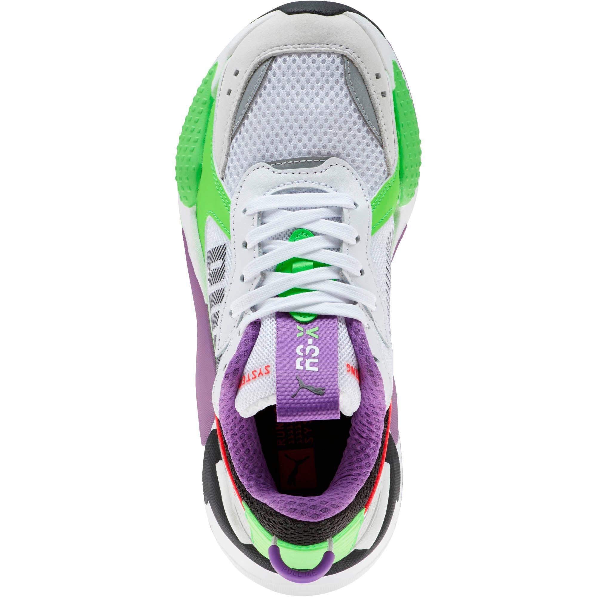 Thumbnail 5 of RS-X Bold Fluorescent Sneakers JR, PWhite-Gr Gecko-Royal Lilac, medium