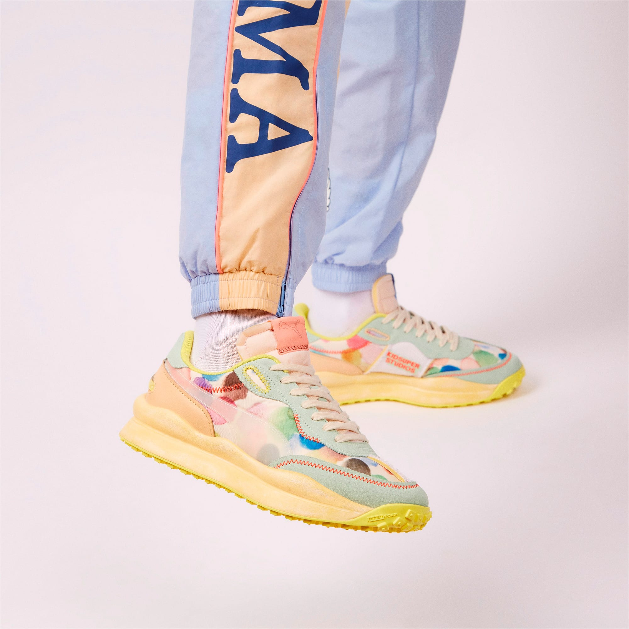 PUMA x KIDSUPER STUDIOS Style Rider Sneakers, Puma White-Dusty Aqua, extralarge
