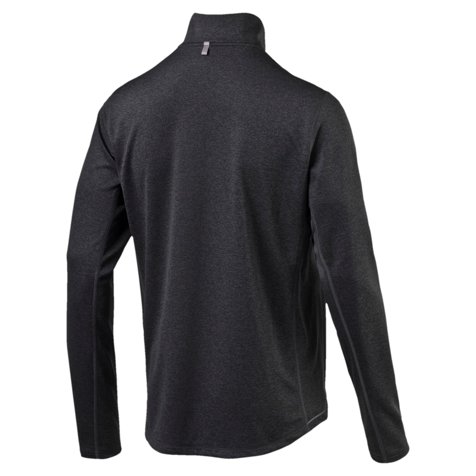 Thumbnail 4 of Running Men's Half Zip Long Sleeve, Black Heather-dtm stitching, medium-IND