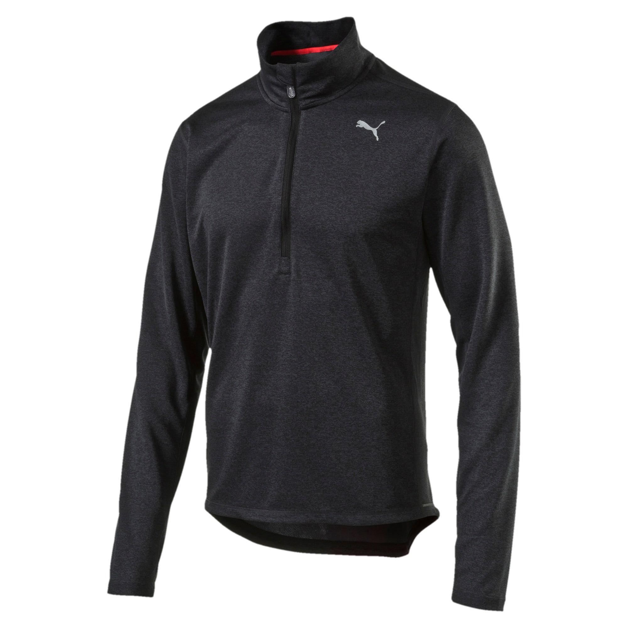 Thumbnail 3 of Running Men's Half Zip Long Sleeve, Black Heather-dtm stitching, medium-IND