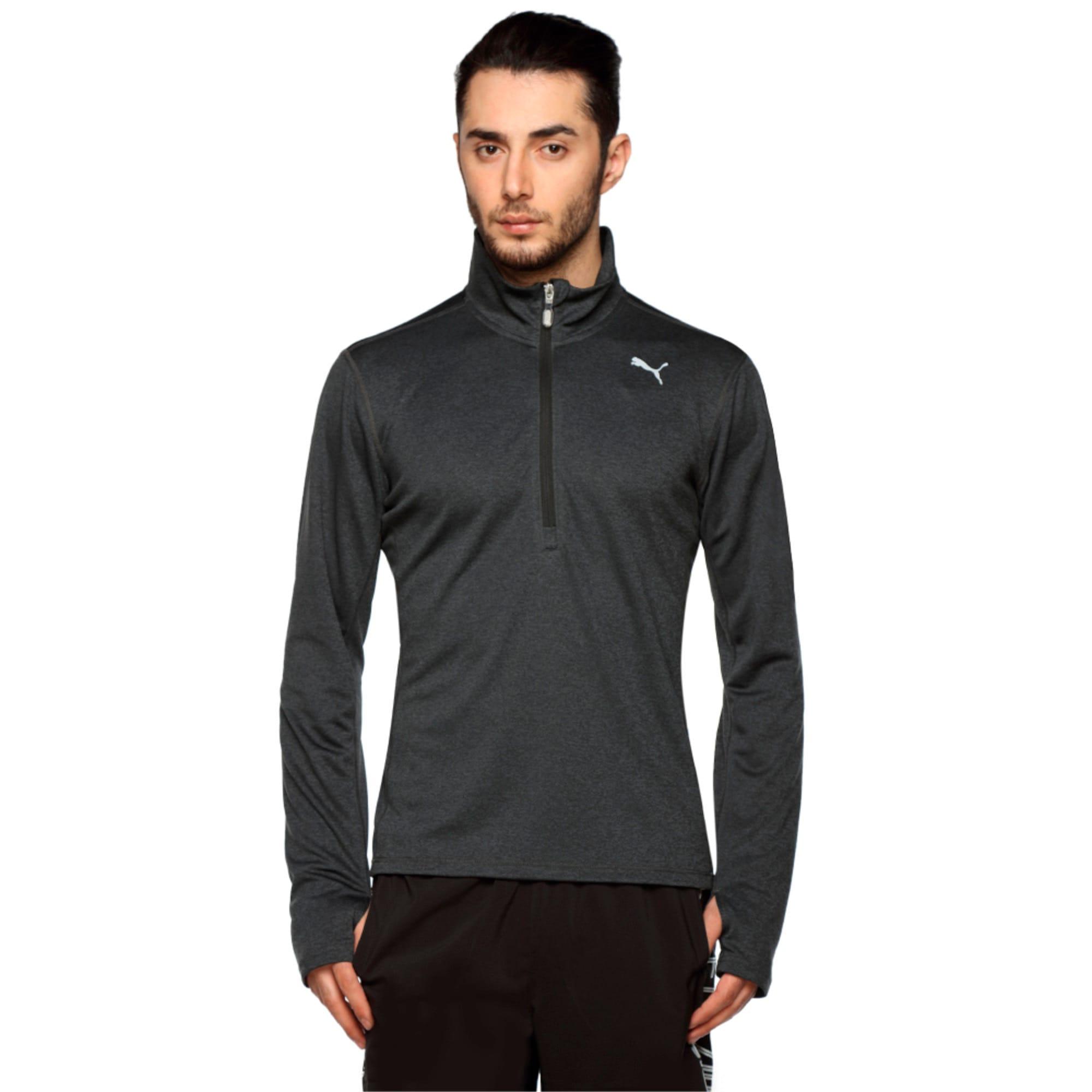Thumbnail 1 of Running Men's Half Zip Long Sleeve, Black Heather-dtm stitching, medium-IND