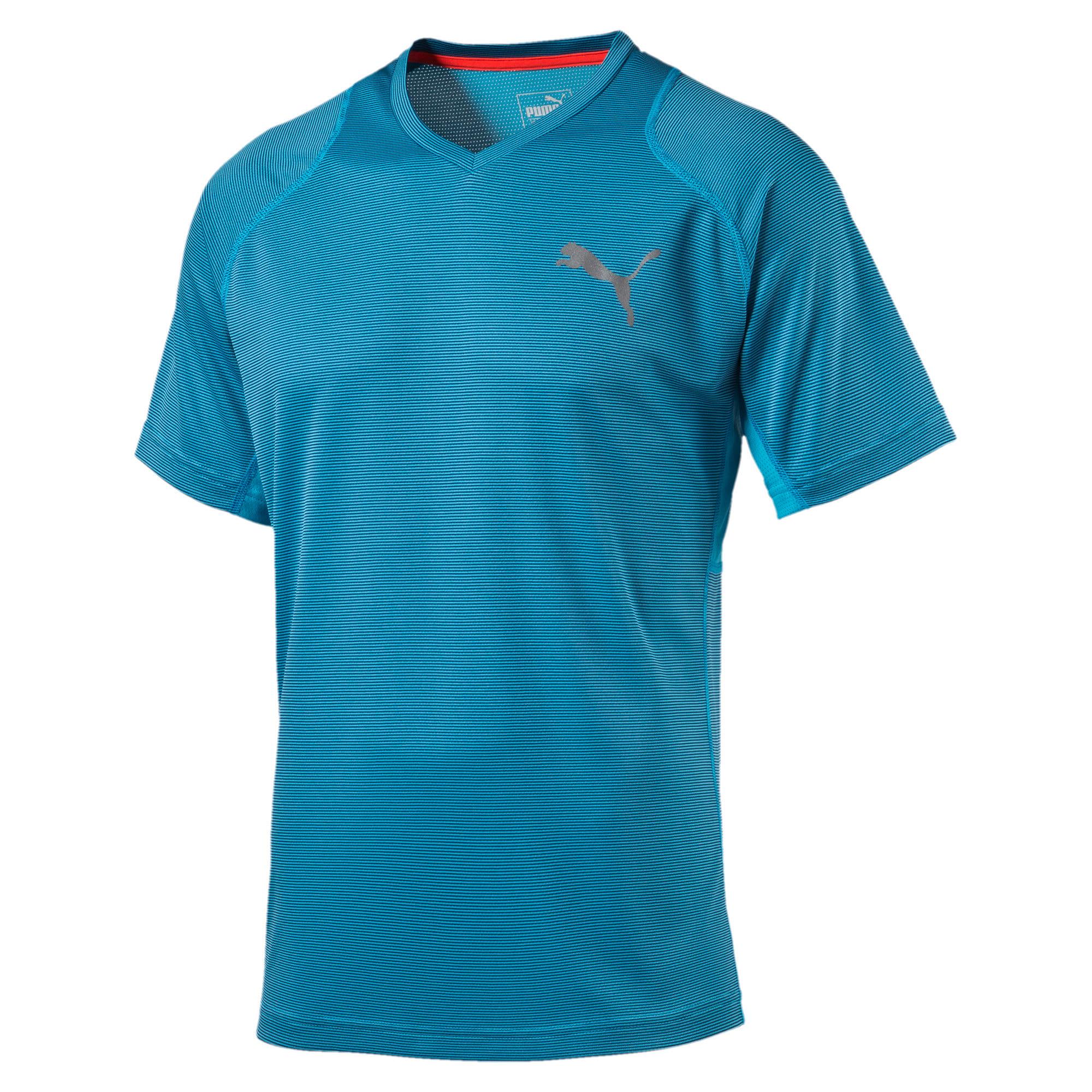 Thumbnail 4 of Active Training Vent Stripe T-Shirt, atomic blue-w/ Black, medium-IND