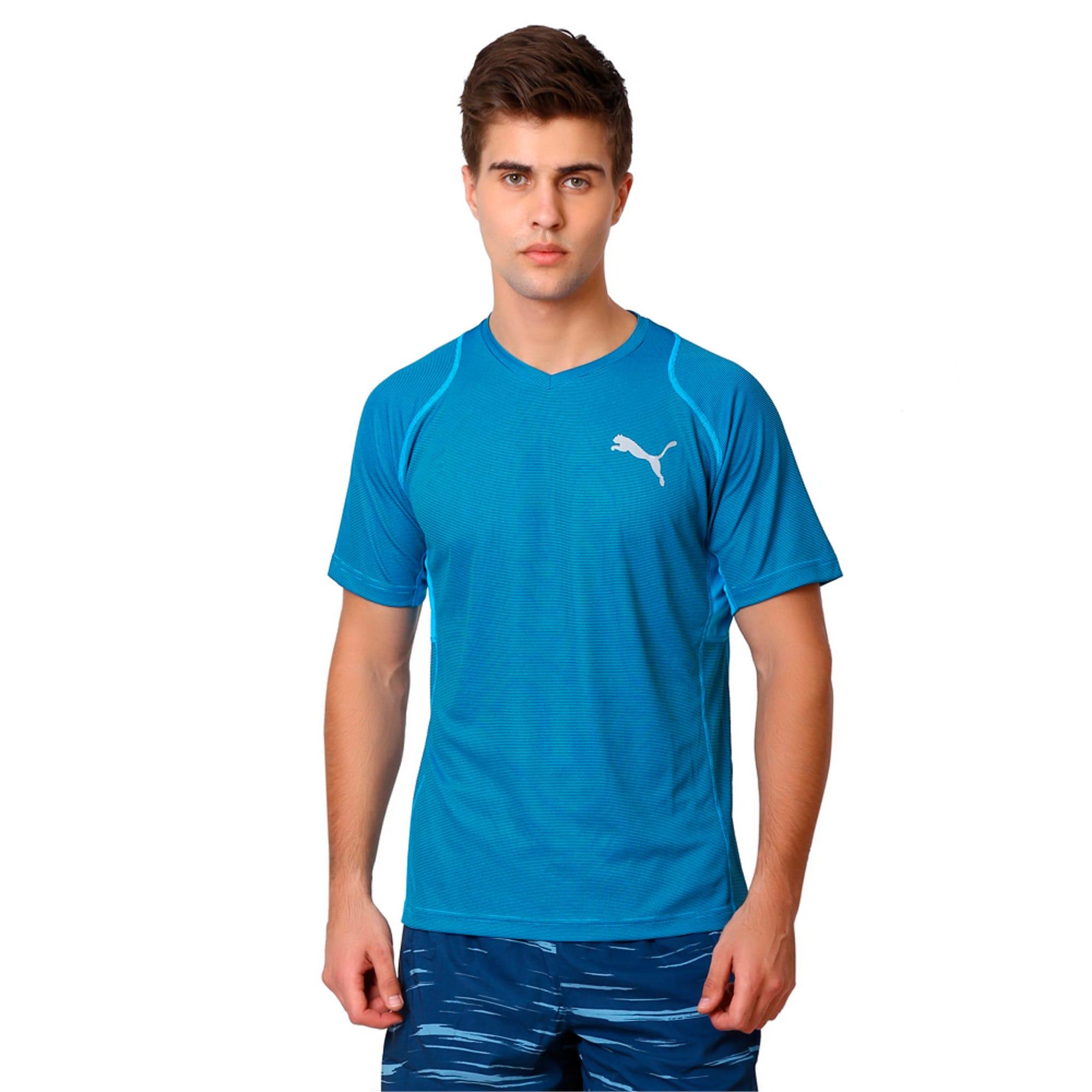 Thumbnail 1 of Active Training Vent Stripe T-Shirt, atomic blue-w/ Black, medium-IND