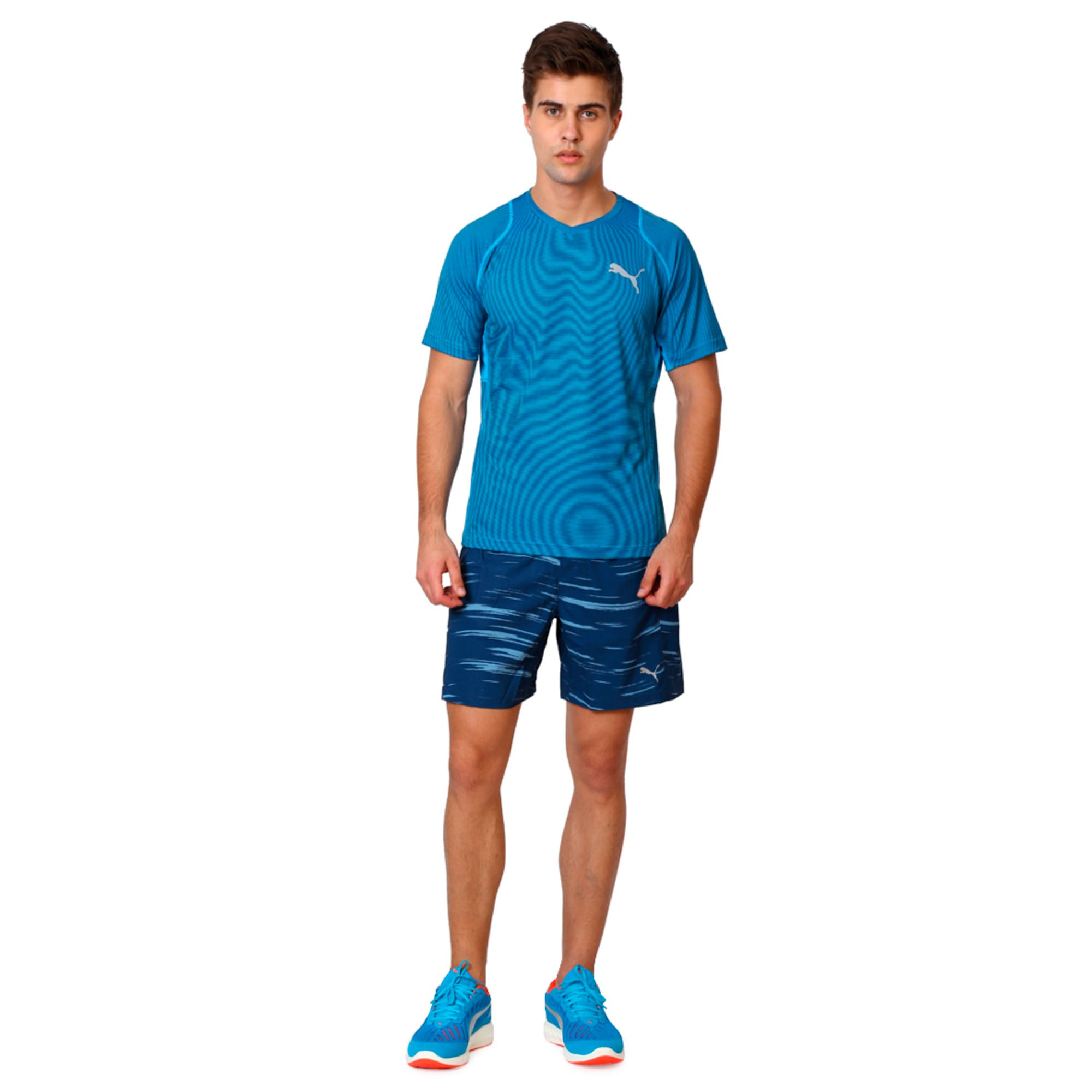 Thumbnail 3 of Active Training Vent Stripe T-Shirt, atomic blue-w/ Black, medium-IND