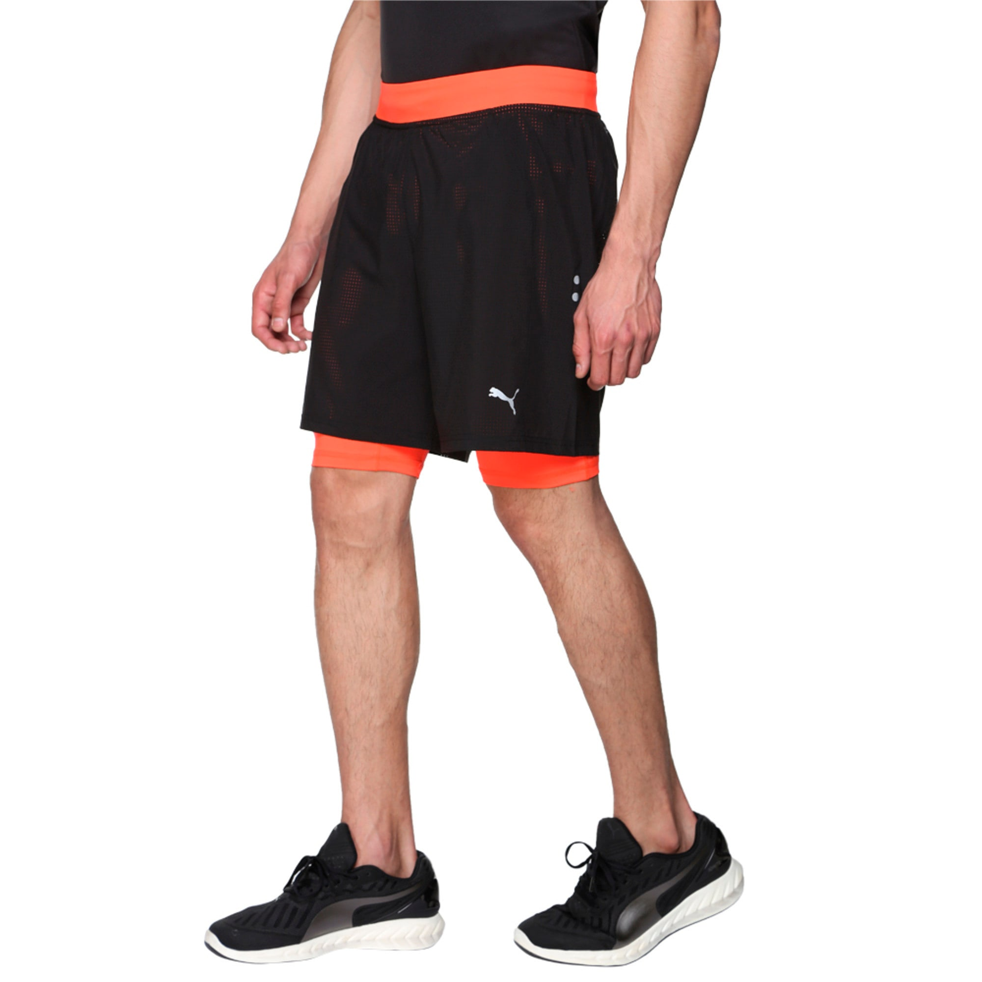 Thumbnail 2 of Running Faster Than You Men's 2 in 1 Shorts, Puma Black-Red Blast, medium-IND