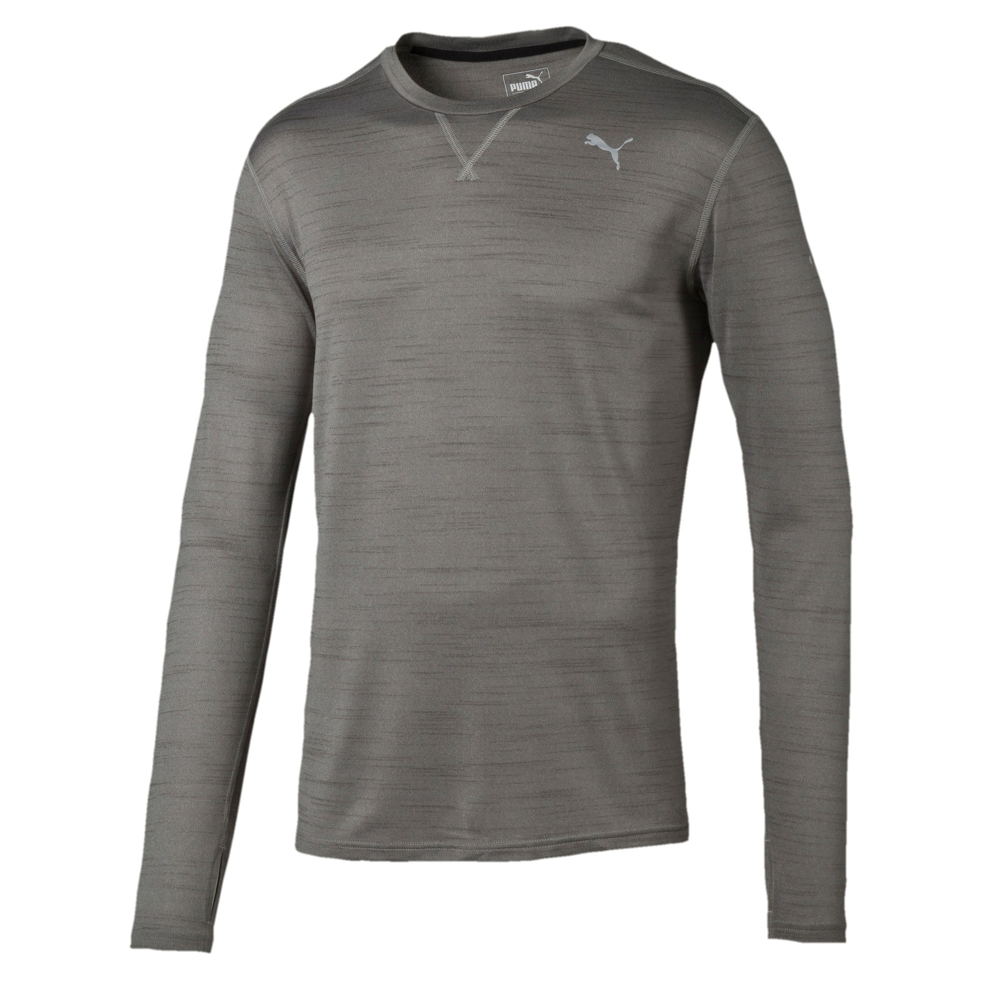 Thumbnail 4 of Rebel-Run L S Tee, Medium Gray Heather, medium-IND