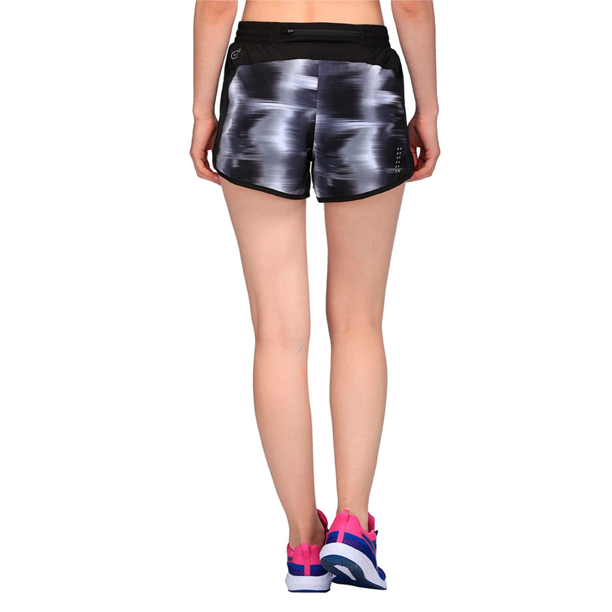 Thumbnail 3 of Running Women's Blast Graphic Shorts, Puma Black-Shell Black AOP, medium-IND