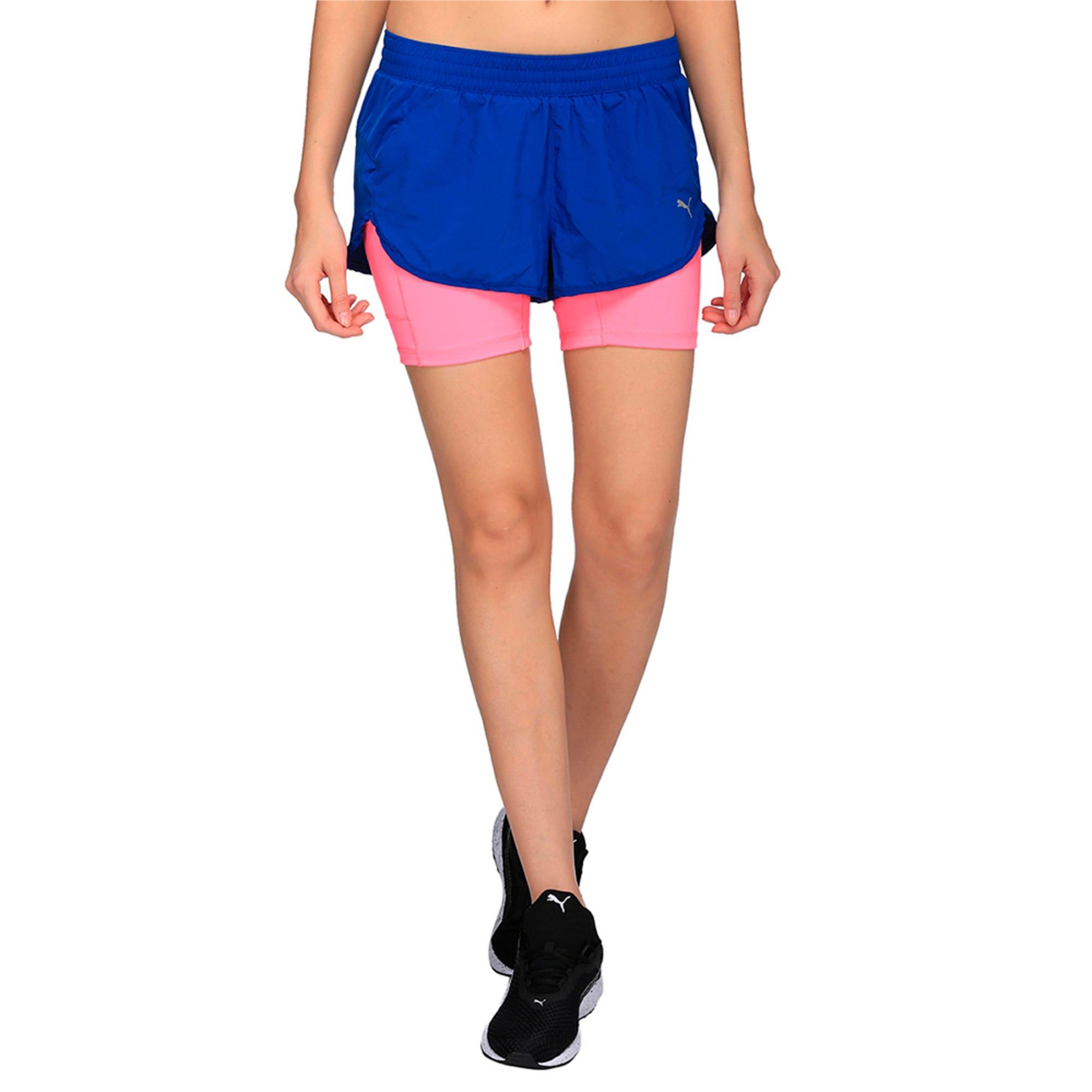 Thumbnail 4 of Running Women's Blast 2 in 1 Shorts, TRUE BLUE-KNOCKOUT PINK, medium-IND