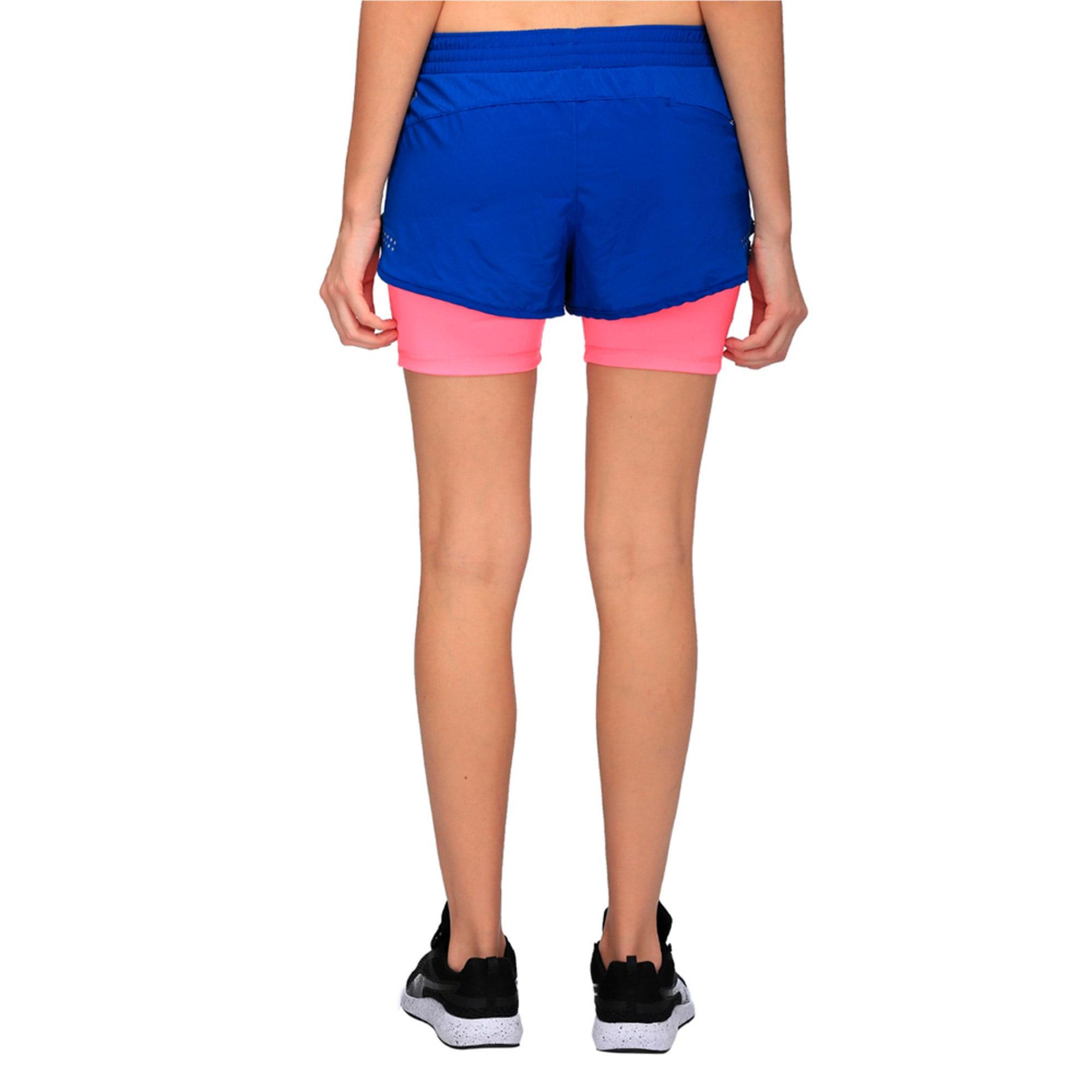 Thumbnail 2 of Running Women's Blast 2 in 1 Shorts, TRUE BLUE-KNOCKOUT PINK, medium-IND