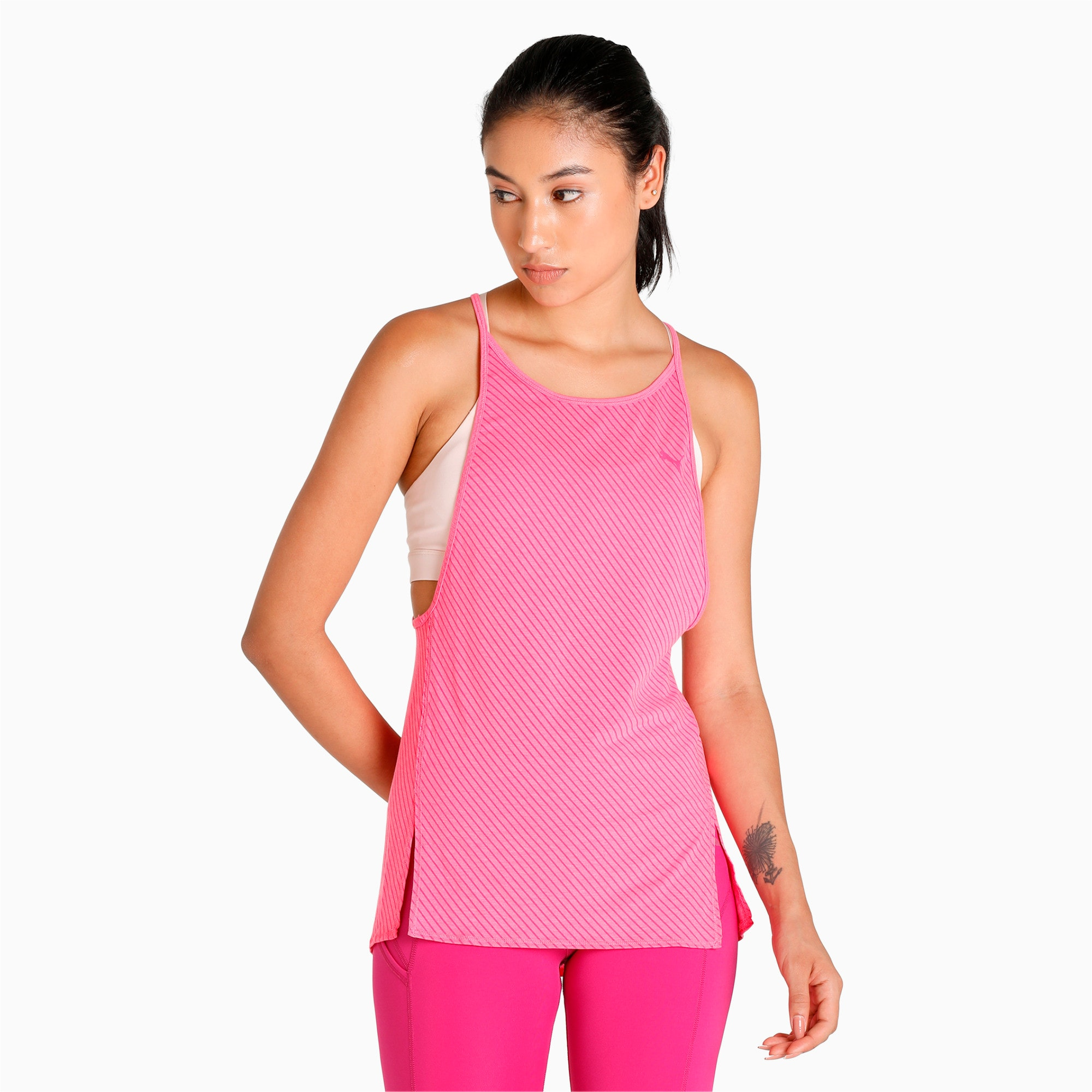 Thumbnail 4 of Active Training Women's Dancer Draped Tank Top, knockout pink heather-stripe, medium-IND