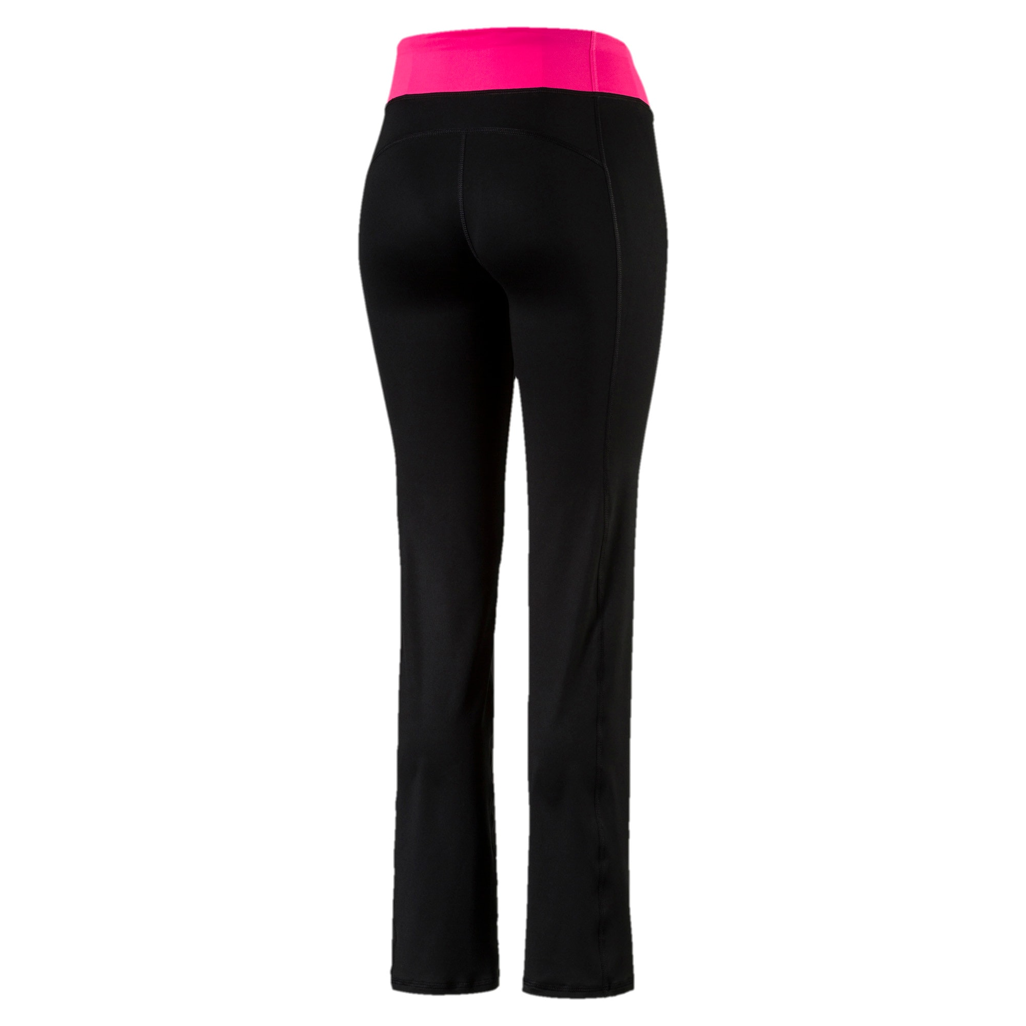 Thumbnail 4 of Training Women's Essential Straight Leg Pants, Puma Black-KNOCKOUT PINK, medium-IND