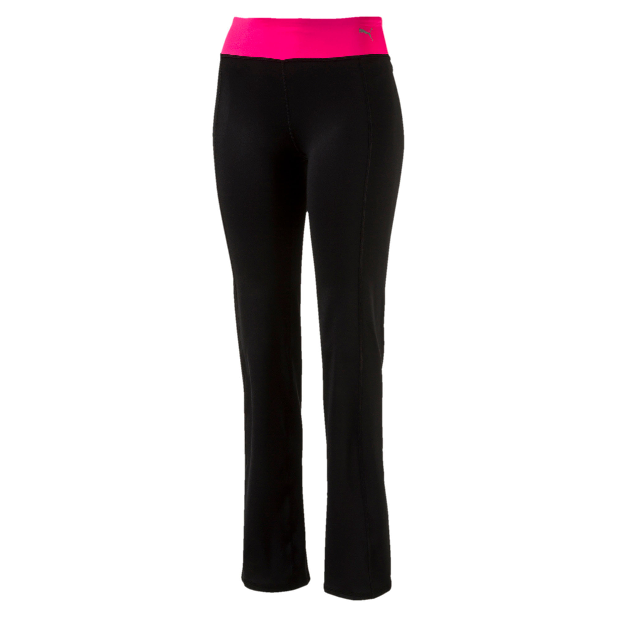Thumbnail 1 of Training Women's Essential Straight Leg Pants, Puma Black-KNOCKOUT PINK, medium-IND