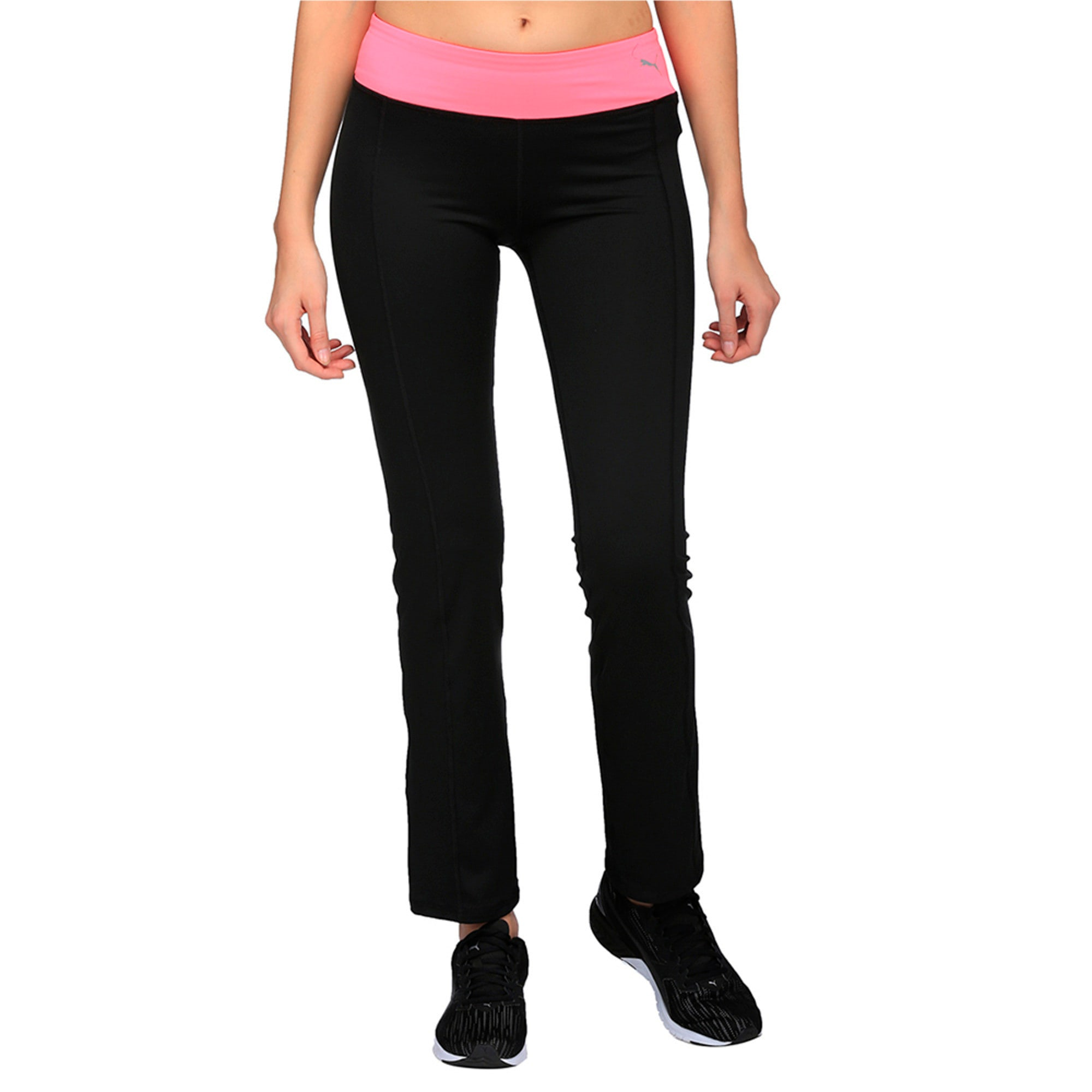 Thumbnail 2 of Training Women's Essential Straight Leg Pants, Puma Black-KNOCKOUT PINK, medium-IND