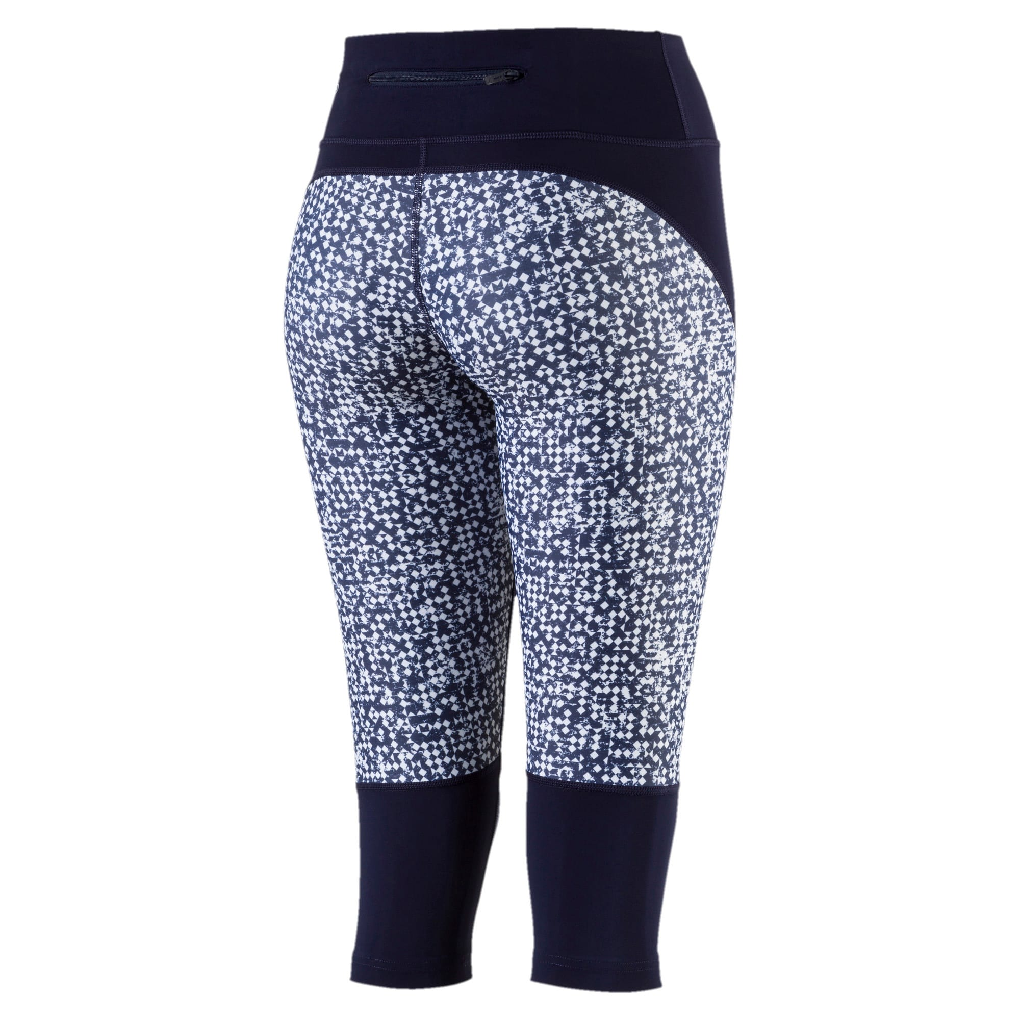 Thumbnail 2 of Active Training Women's Culture Surf 3/4 Tights, Peacoat-white box print, medium-IND