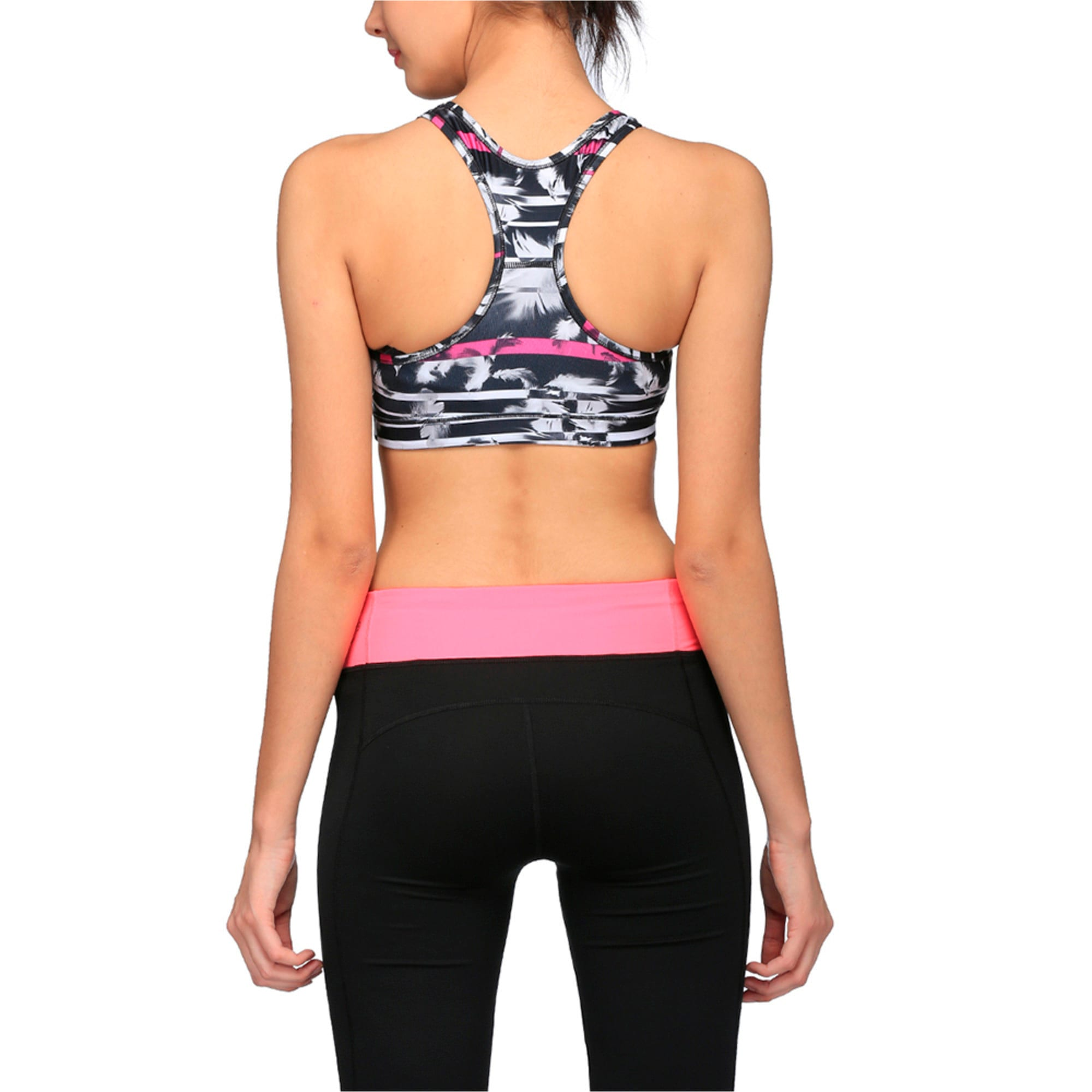 Thumbnail 1 of Training Women's PWRSHAPE Forever Graphic Padded Crop Top, black-magenta-feather prt, medium-IND