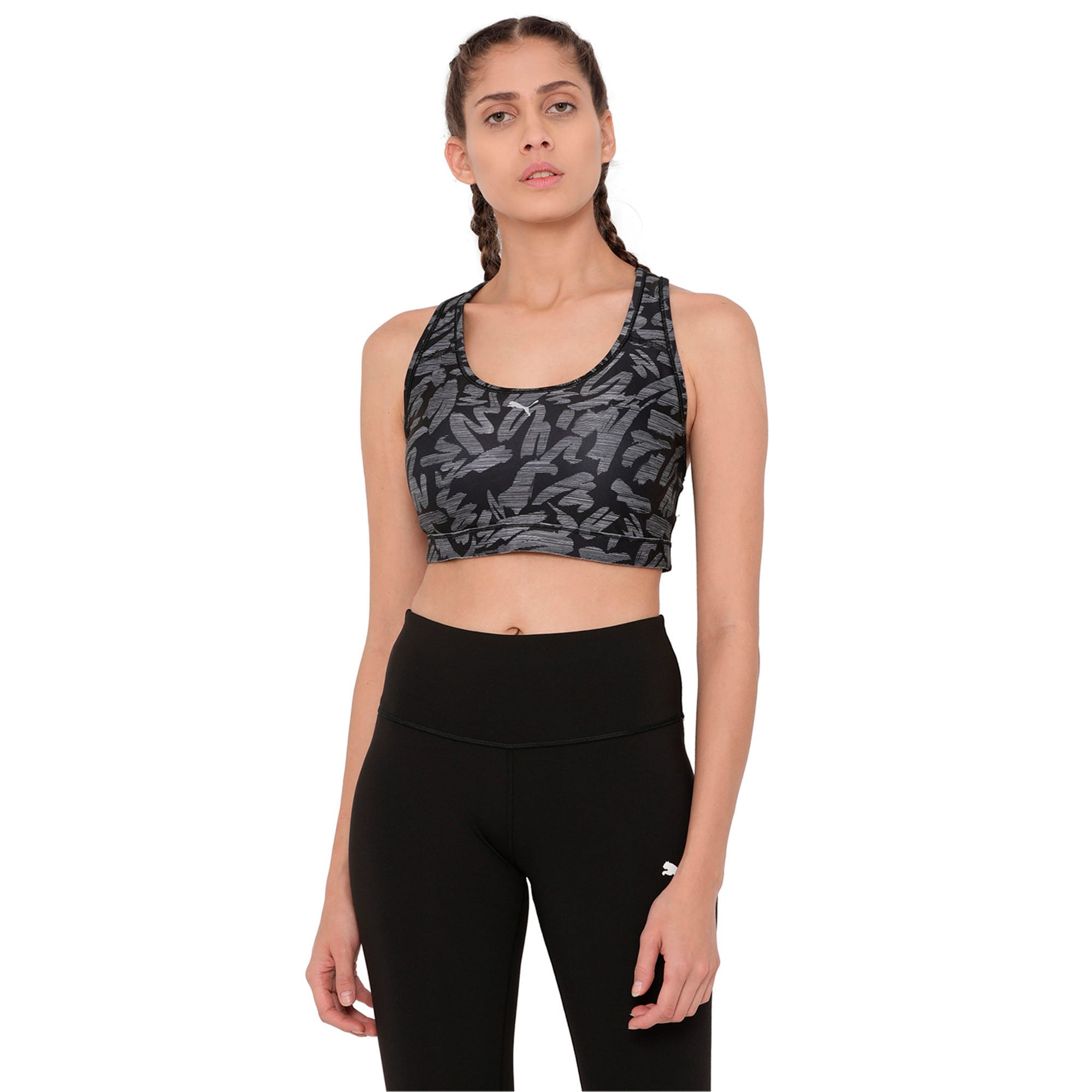 Thumbnail 1 of Training Women's PWRSHAPE Forever Graphic Padded Crop Top, Puma Black-oceanaire prt, medium-IND