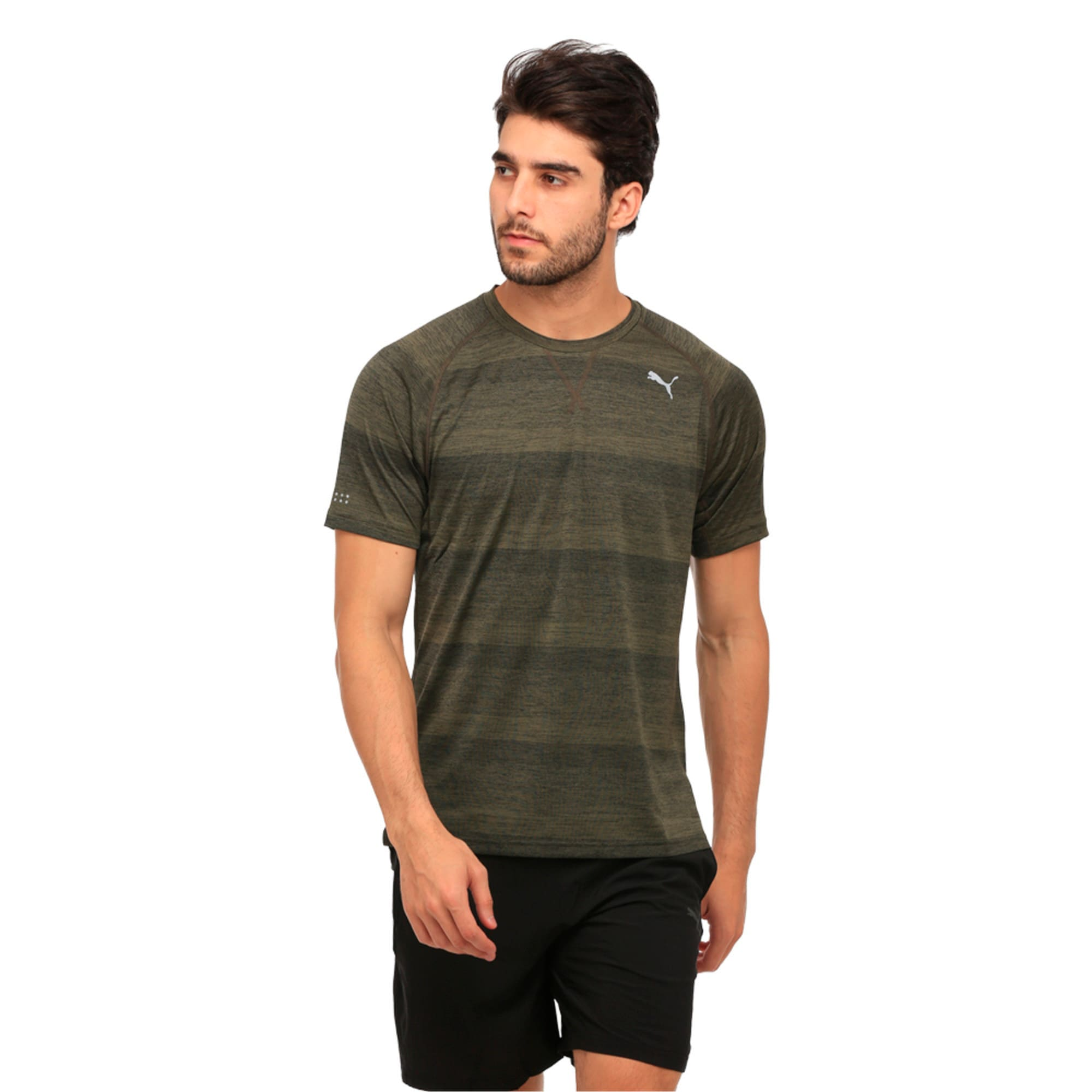 Thumbnail 3 of Running Men's Energy T-Shirt, Olive Night Heather, medium-IND