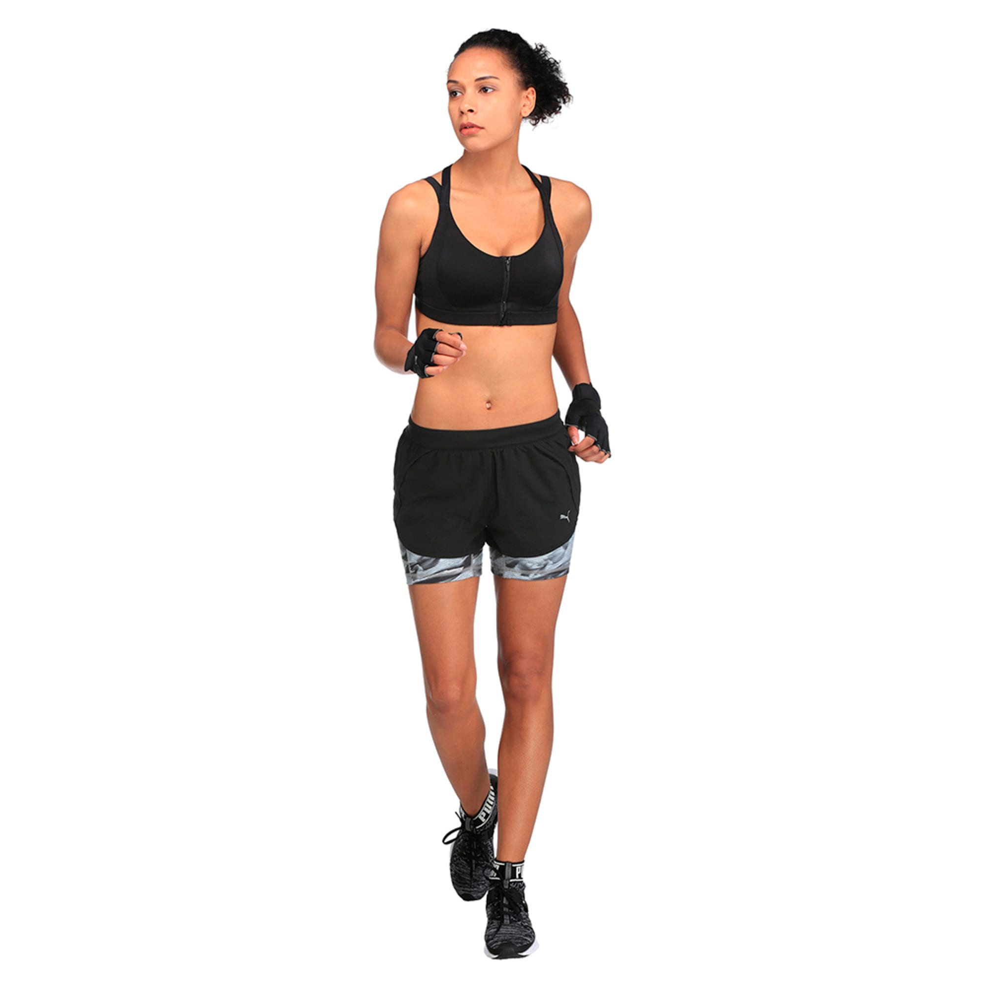 Running Women's Blast 2 in 1 Shorts, Puma Black-Inner Tight AOP, large-IND