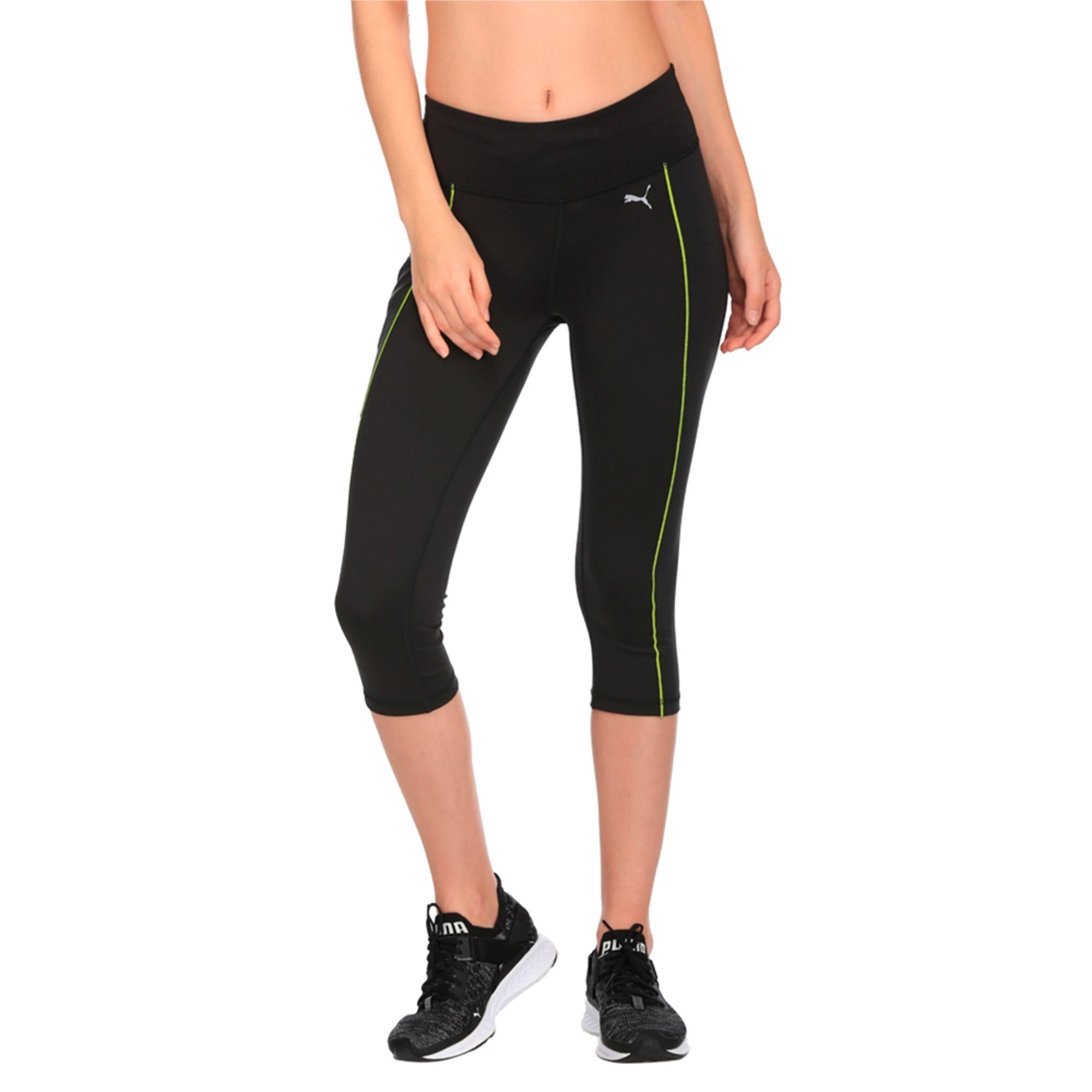 Thumbnail 1 of Running Women's PWRCOOL Speed 3/4 Tights, Puma Black-Nrgy Yellow, medium-IND