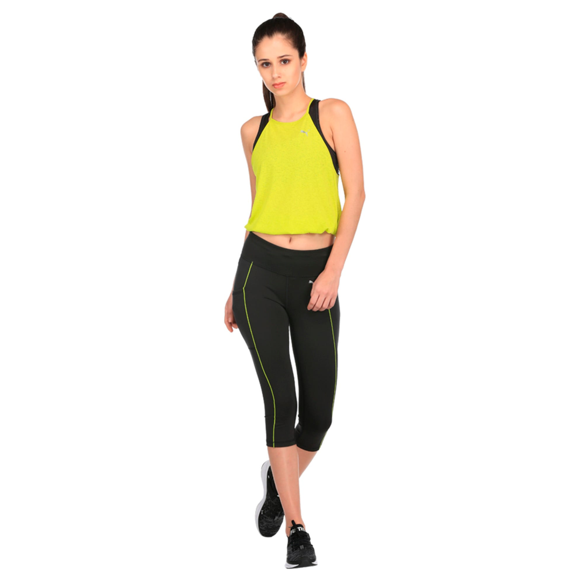 Thumbnail 3 of Running Women's PWRCOOL Speed 3/4 Tights, Puma Black-Nrgy Yellow, medium-IND