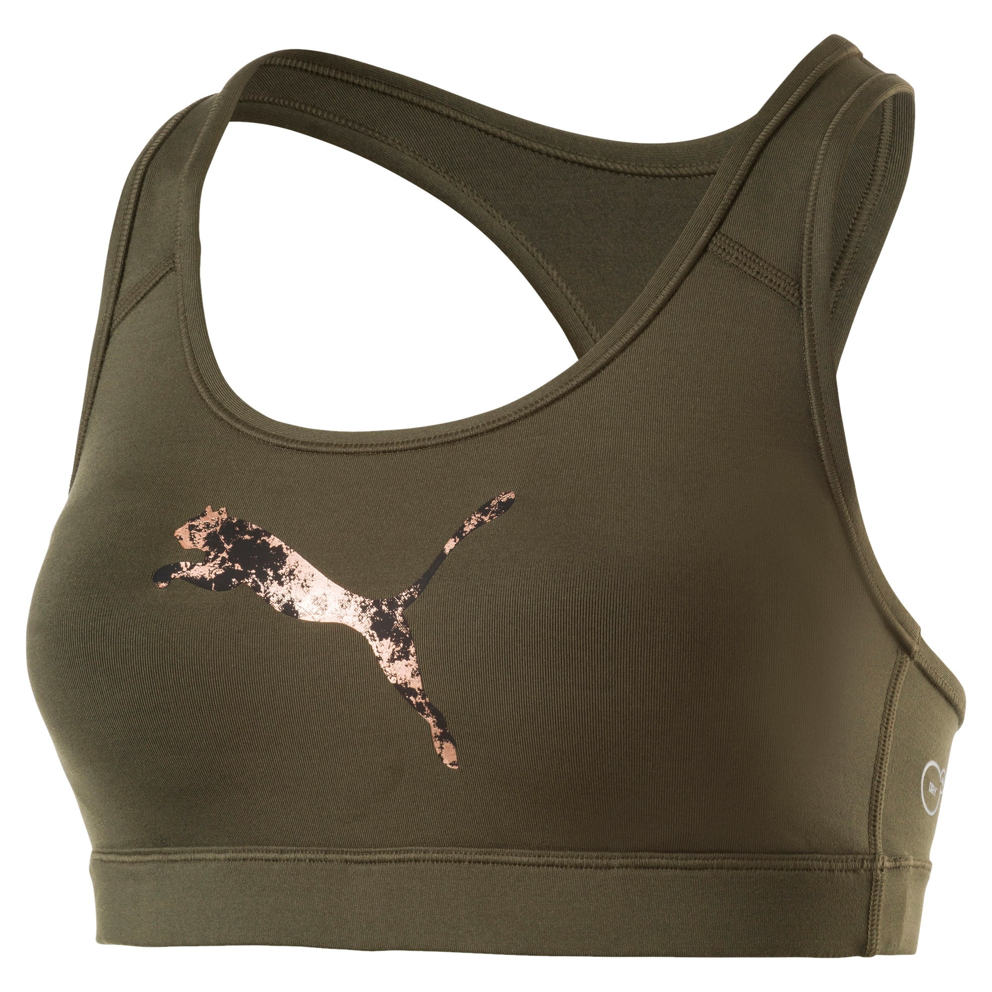 Thumbnail 4 of Training Women's PWRSHAPE Forever Padded Logo Bra Top, Olive Night-Copper PUMA, medium-IND