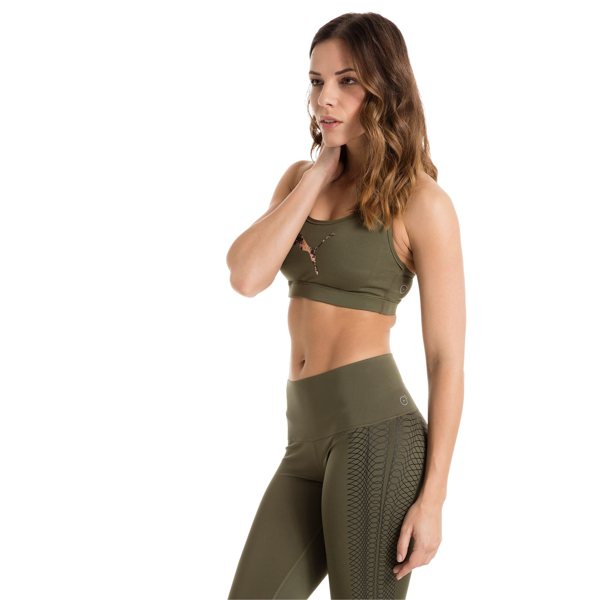 Thumbnail 1 of Training Women's PWRSHAPE Forever Padded Logo Bra Top, Olive Night-Copper PUMA, medium-IND