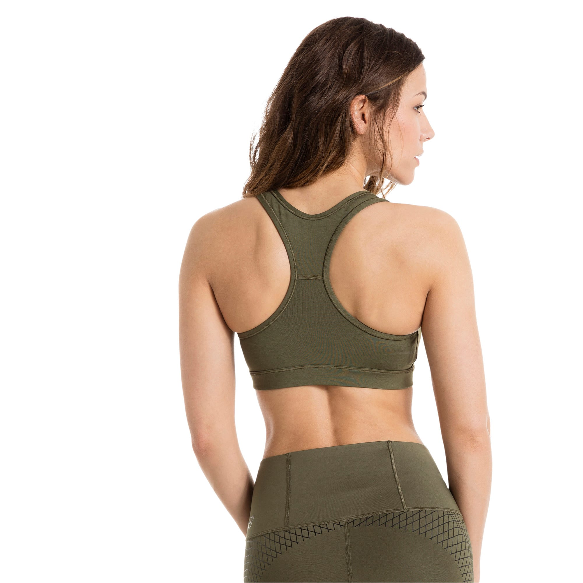 Thumbnail 3 of Training Women's PWRSHAPE Forever Padded Logo Bra Top, Olive Night-Copper PUMA, medium-IND