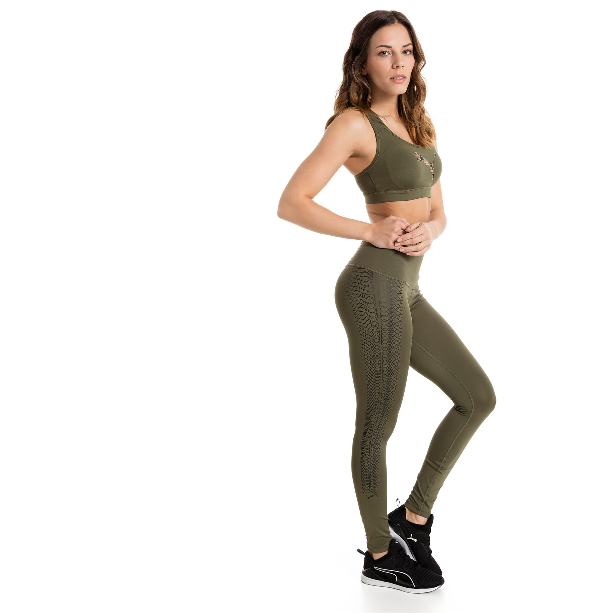 Thumbnail 2 of Training Women's PWRSHAPE Forever Padded Logo Bra Top, Olive Night-Copper PUMA, medium-IND