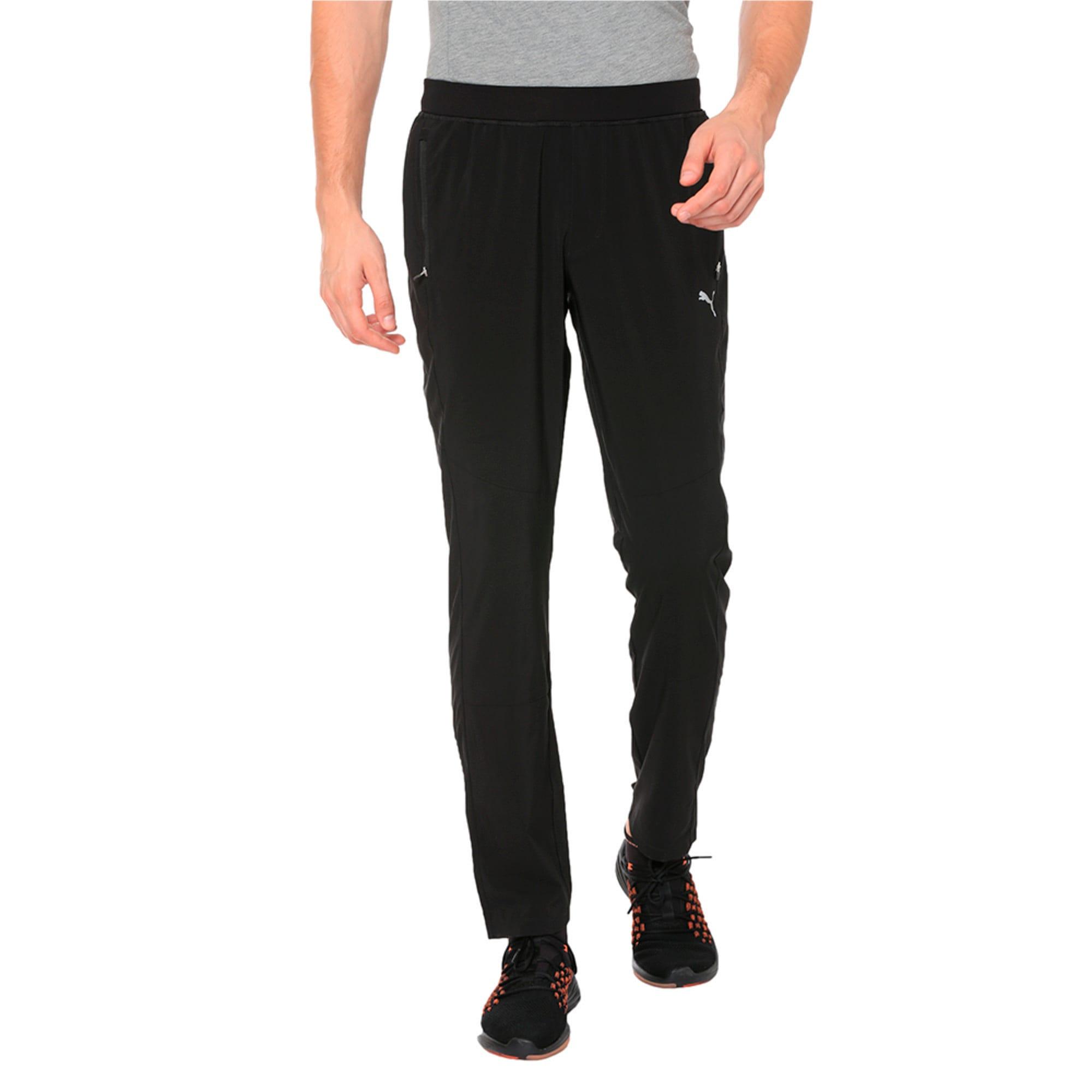 Thumbnail 1 of Tapered Woven Men's Running Pants, Puma Black, medium-IND