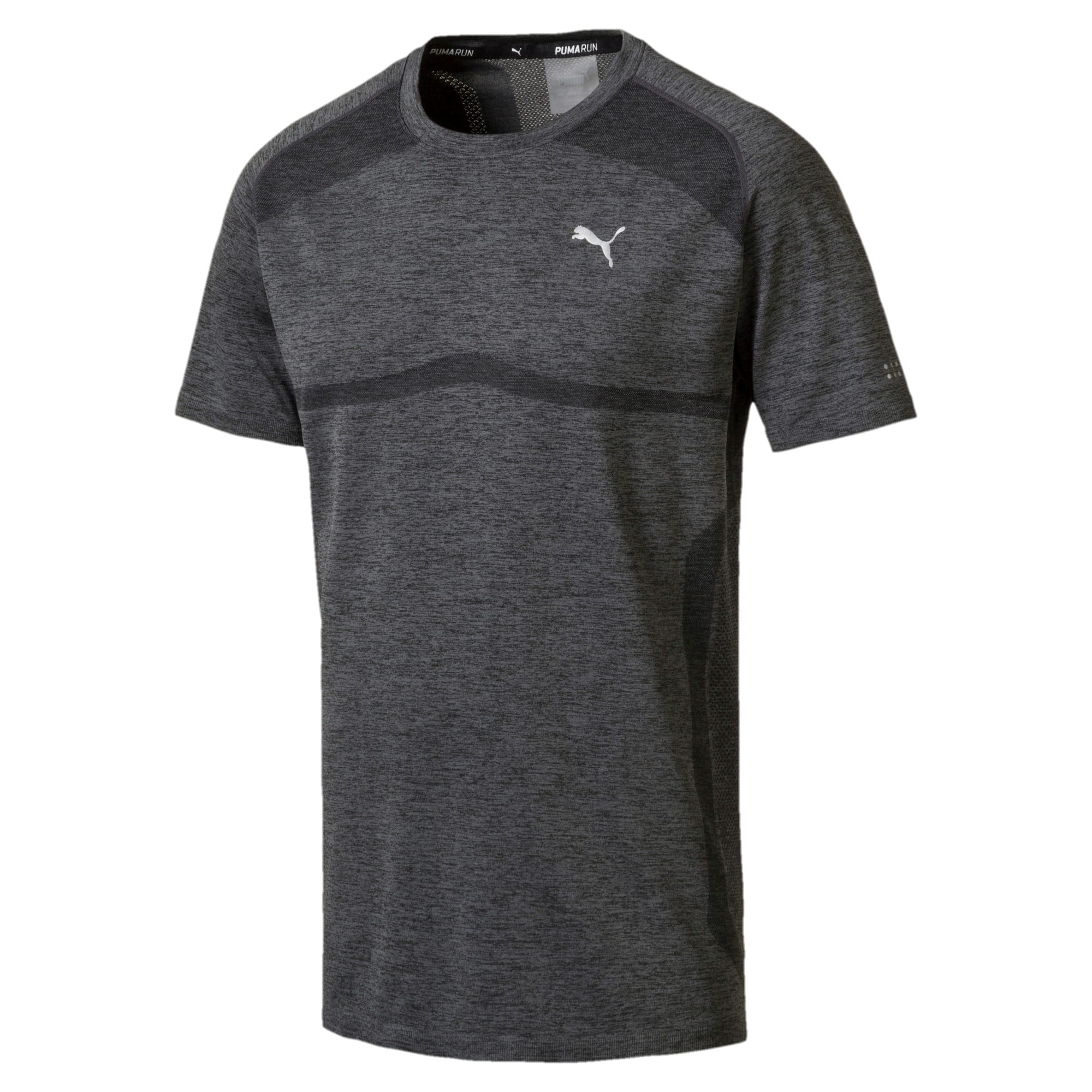 Thumbnail 1 of PWRRUN evoKNIT Men's Short Sleeve Running T-Shirt, Dark Gray Heather, medium-IND