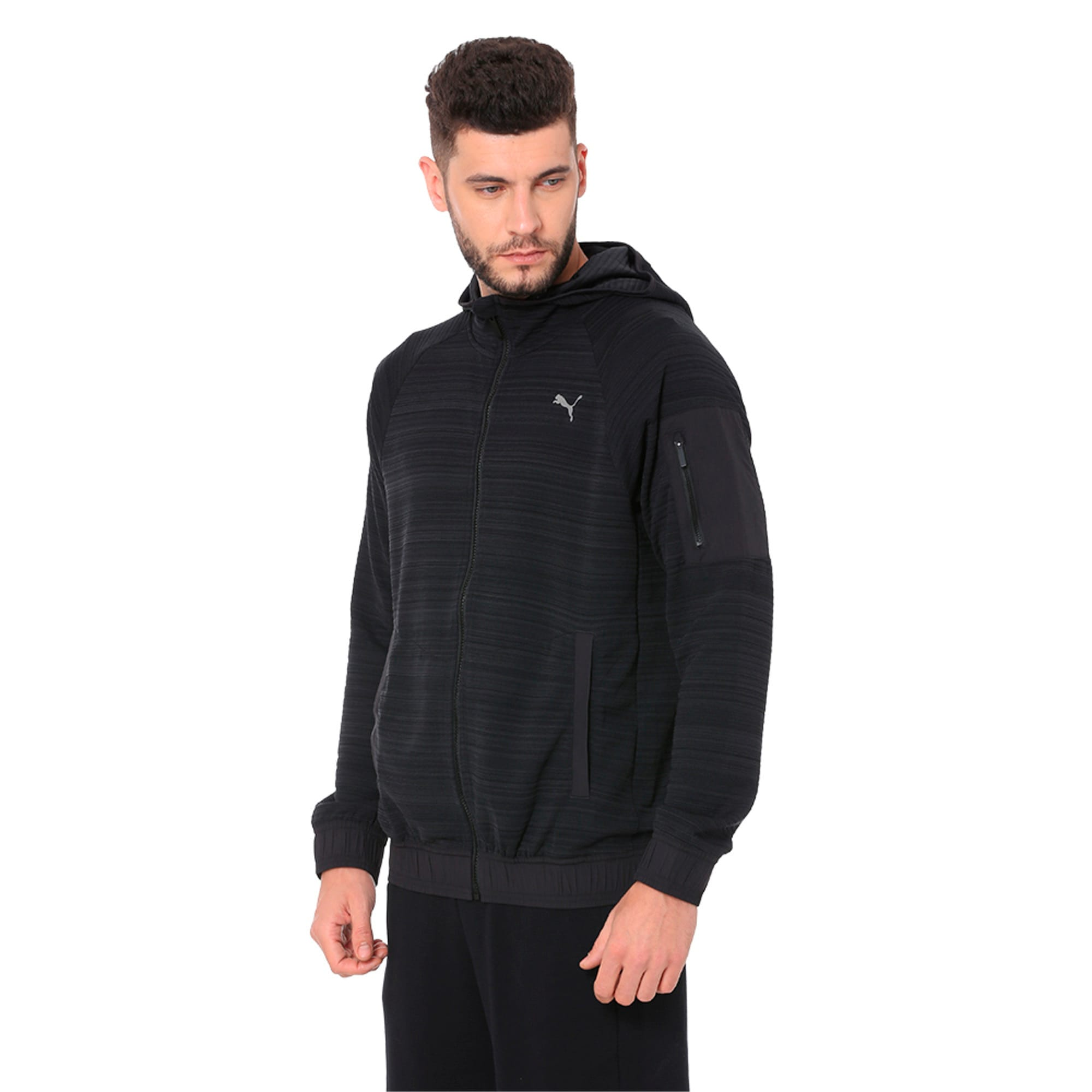 Thumbnail 2 of Energy Men's Full Zip Hoodie, Puma Black Heather, medium-IND