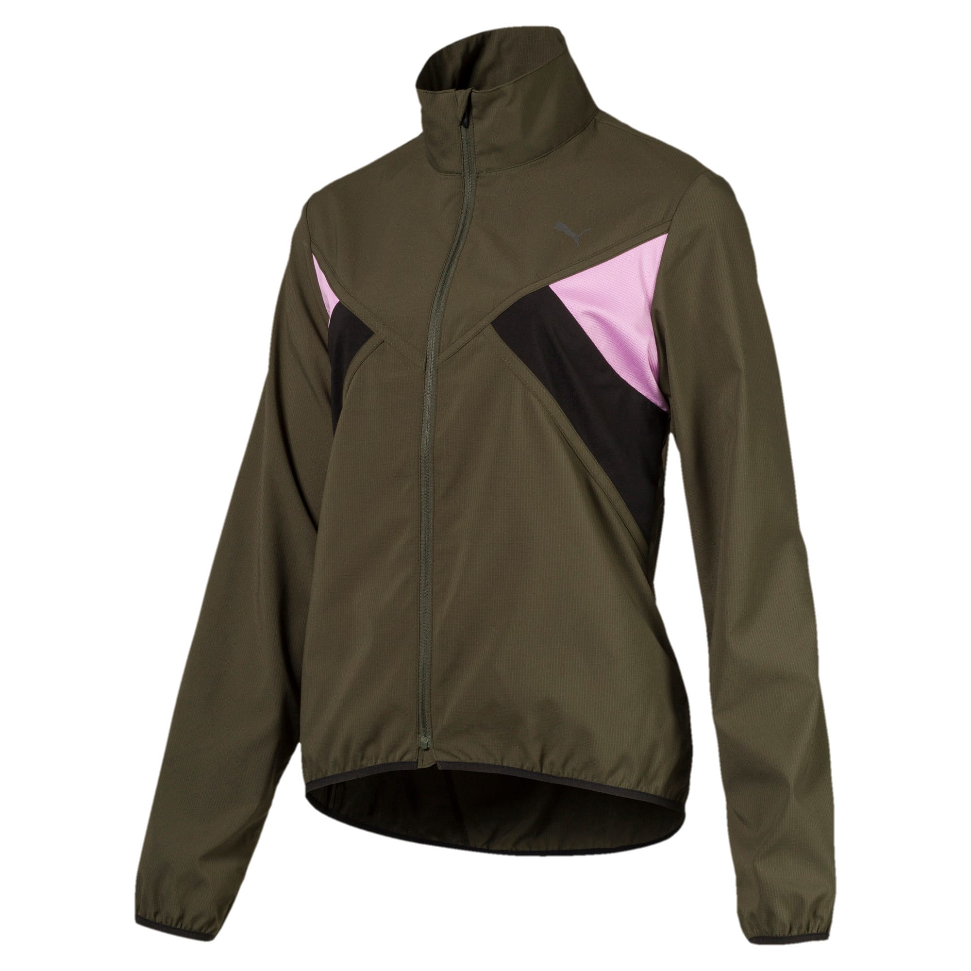 Thumbnail 3 of IGNITE Zip-Up Women's Running Wind Jacket, Forest Night-Black-Orchid, medium-IND