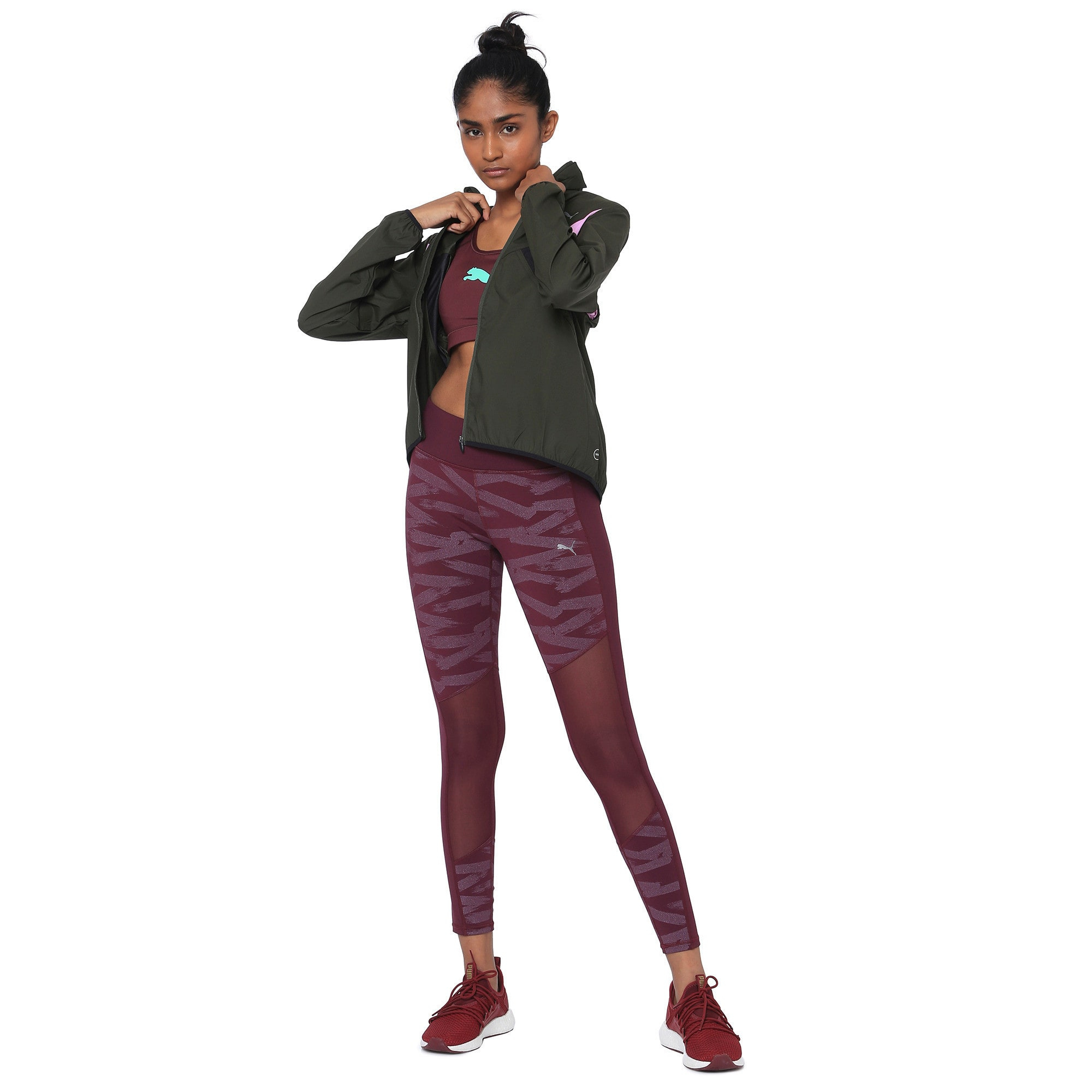 Thumbnail 1 of IGNITE Zip-Up Women's Running Wind Jacket, Forest Night-Black-Orchid, medium-IND