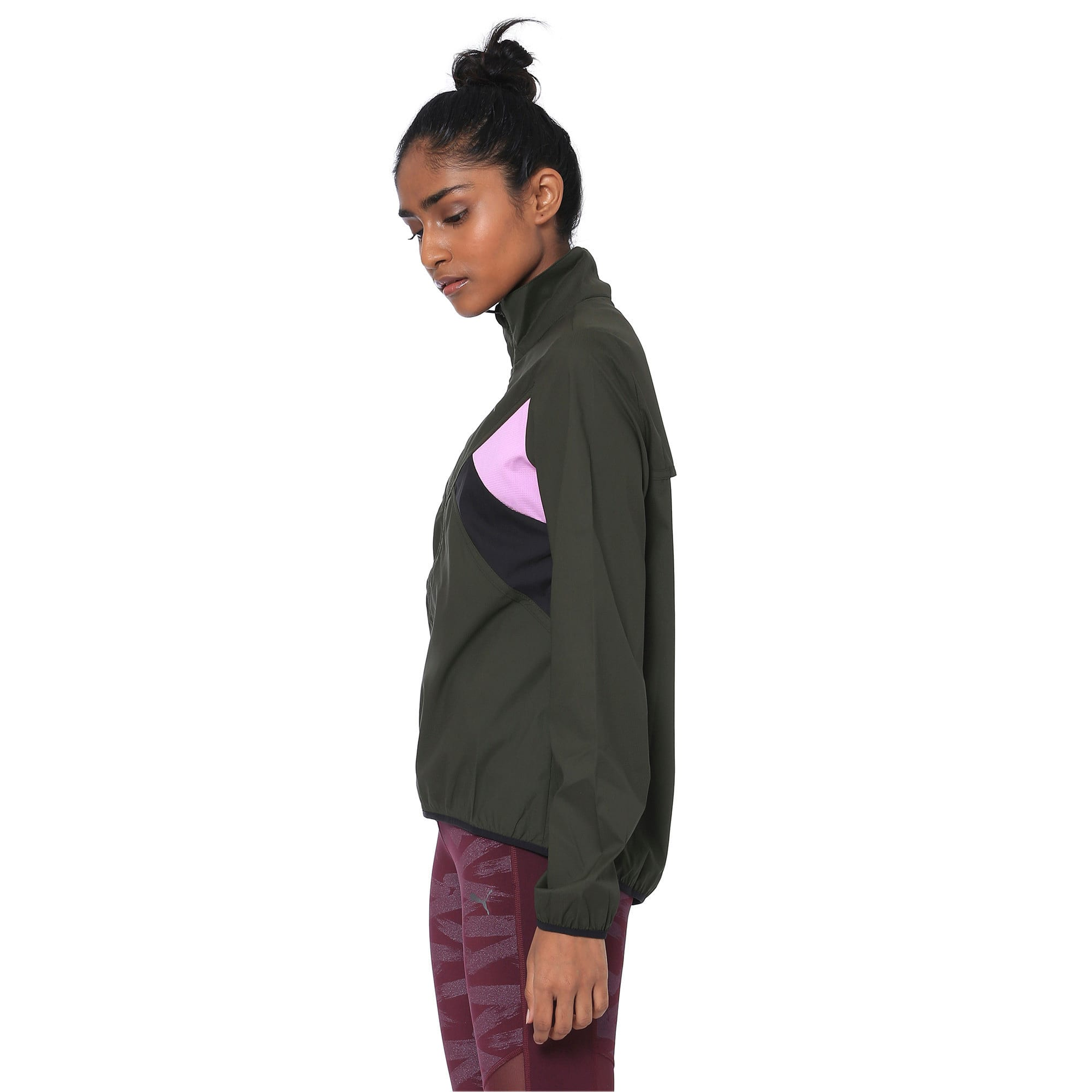 Thumbnail 2 of IGNITE Zip-Up Women's Running Wind Jacket, Forest Night-Black-Orchid, medium-IND