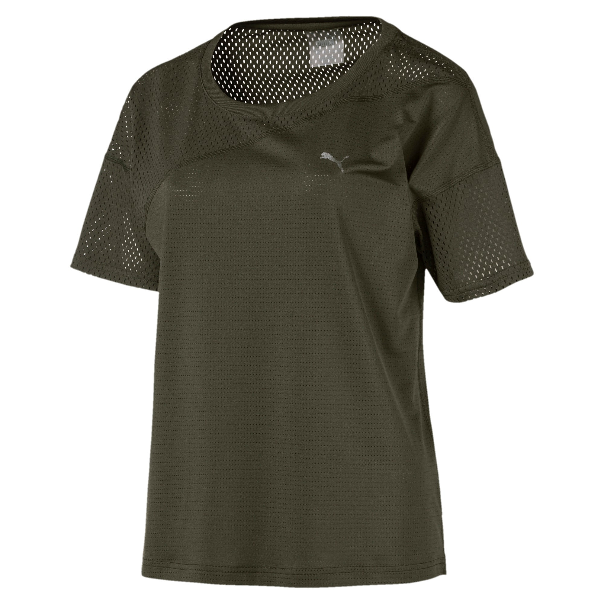 Thumbnail 4 of A.C.E. Mesh Blocked Women's Training Top, Forest Night, medium-IND