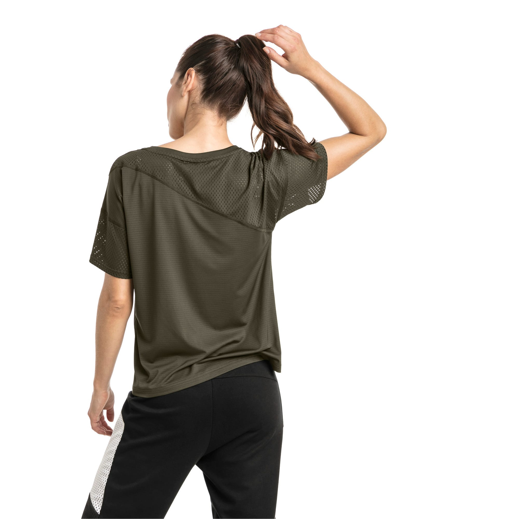 Thumbnail 2 of A.C.E. Mesh Blocked Women's Training Top, Forest Night, medium-IND