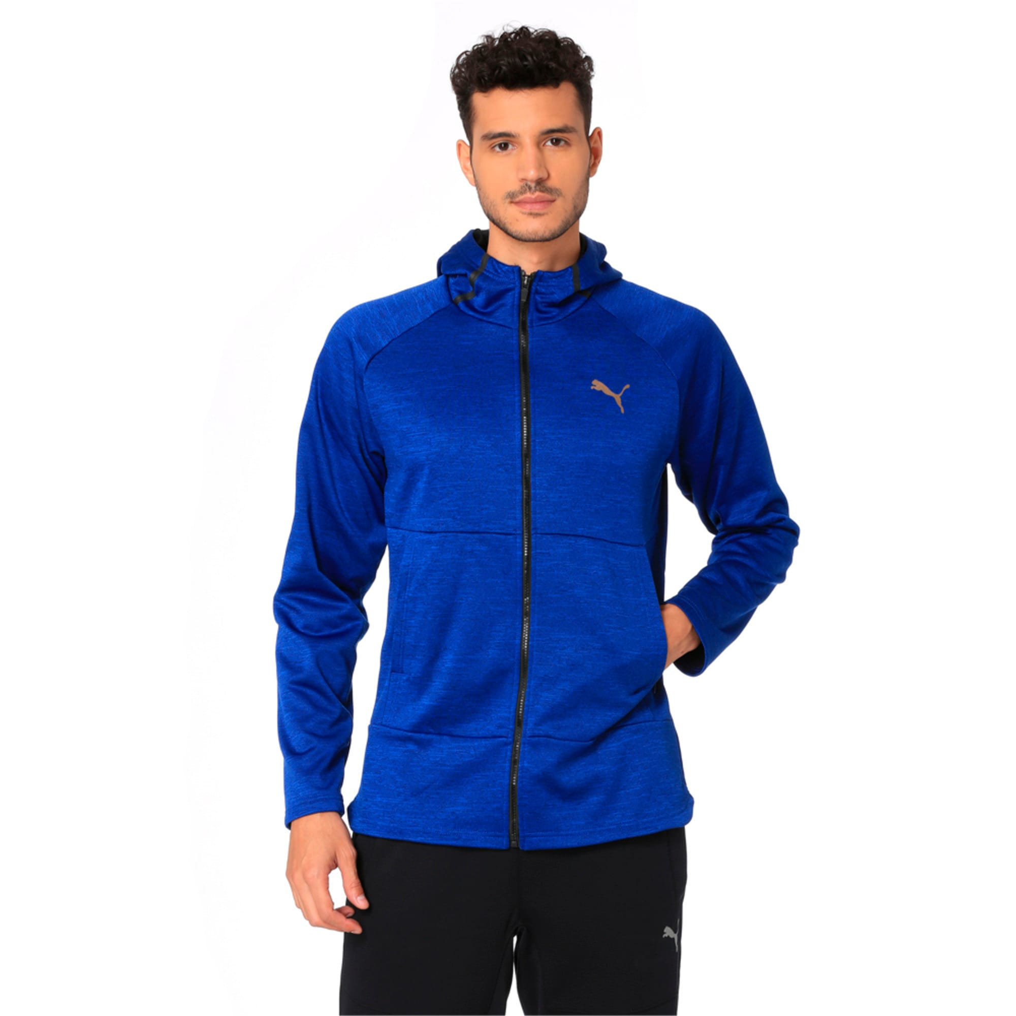 Thumbnail 1 of Q4 BND Tech Protect Jacket Puma Black He, Sodalite Blue Heather, medium-IND