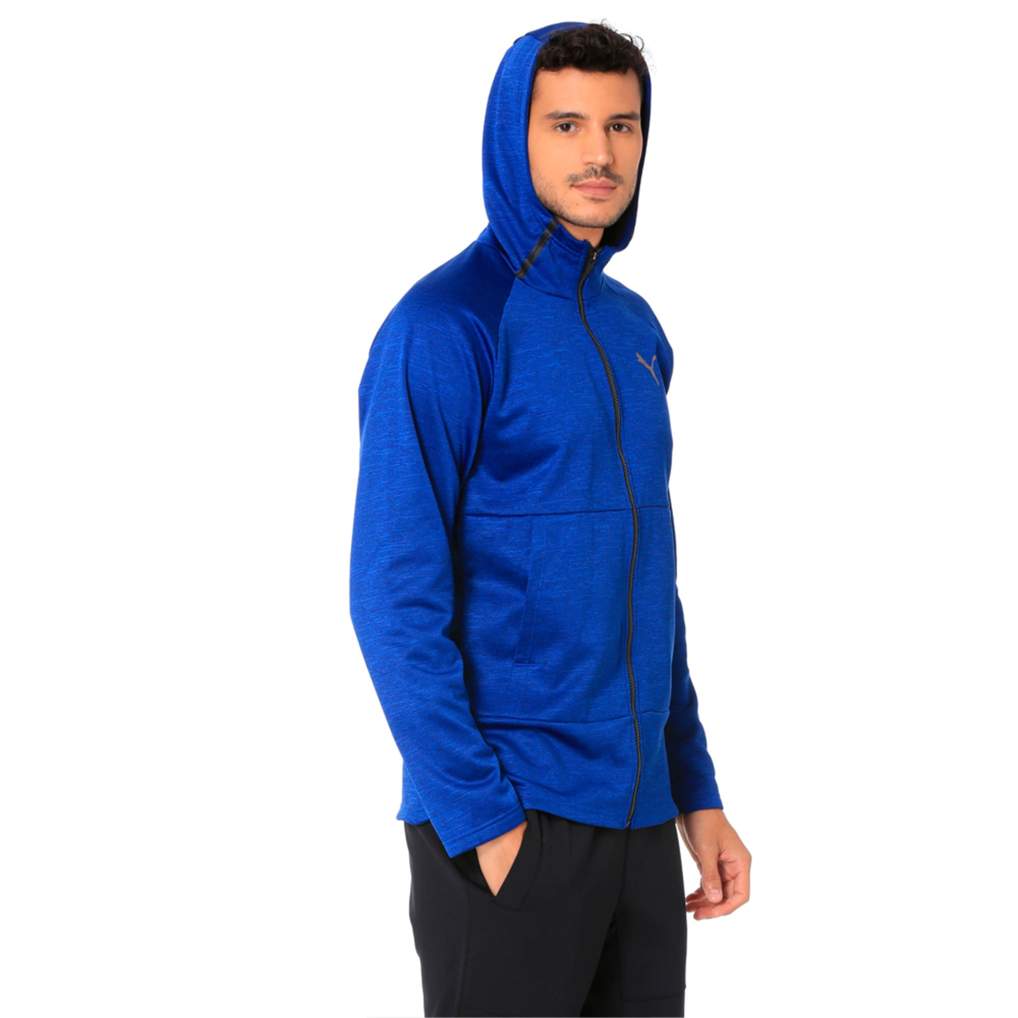 Thumbnail 2 of Q4 BND Tech Protect Jacket Puma Black He, Sodalite Blue Heather, medium-IND