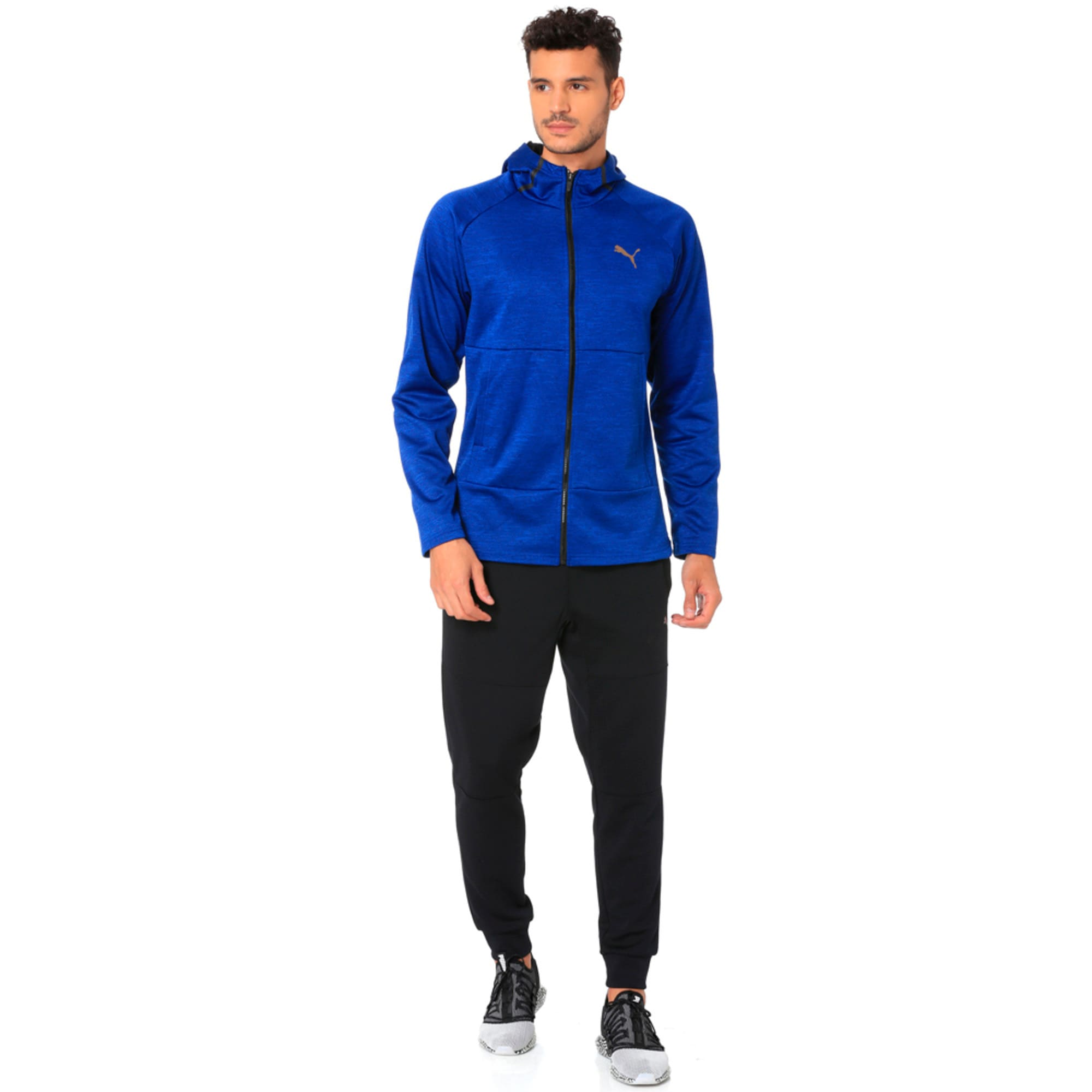 Thumbnail 3 of Q4 BND Tech Protect Jacket Puma Black He, Sodalite Blue Heather, medium-IND