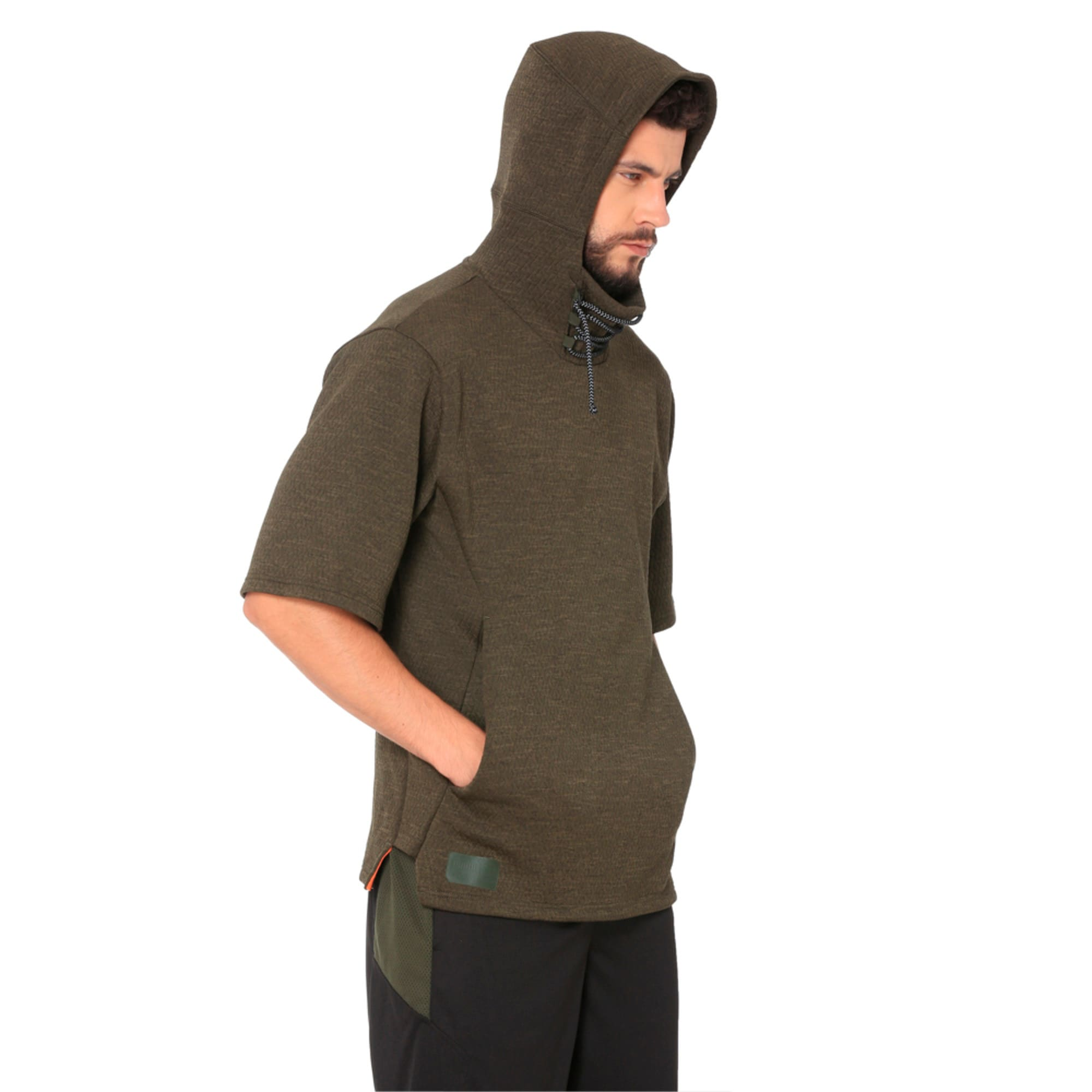 Thumbnail 2 of Training Men's Energy Short Sleeve Hoodie, Forest Night Heather, medium-IND