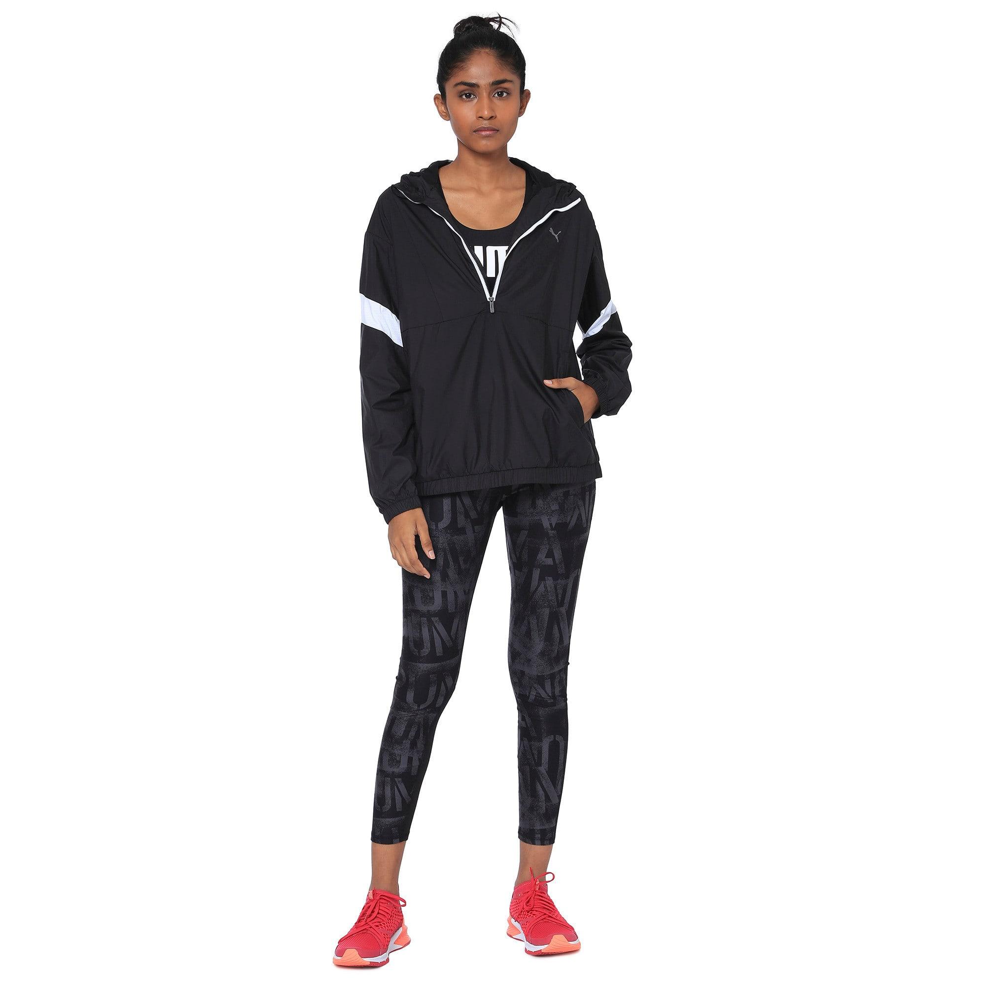 Thumbnail 2 of A.C.E Half Zip Hooded Women's Jacket, Puma Black-Puma White, medium-IND