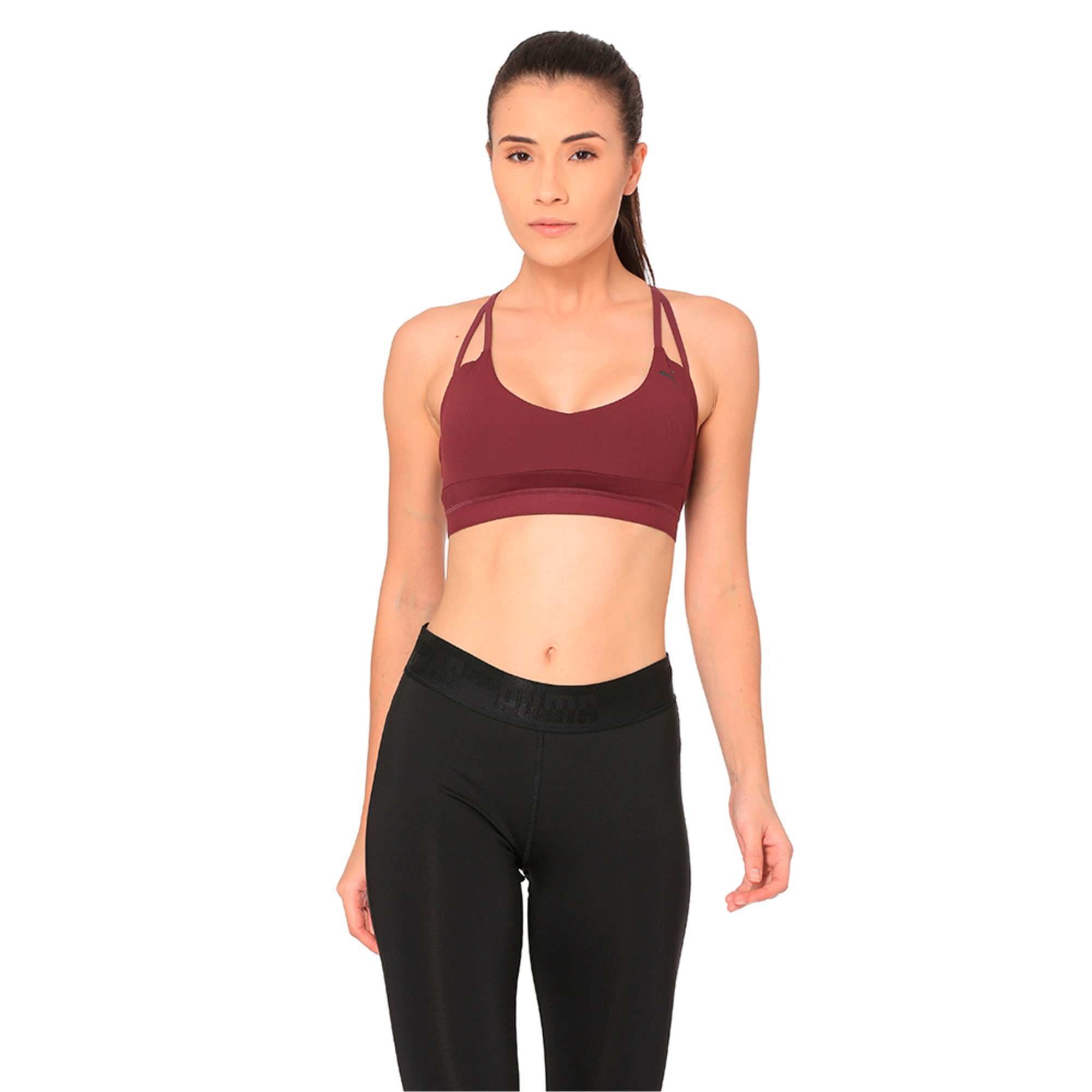 Thumbnail 1 of Strappy Mix Low Impact Women's Bra Top, Fig, medium-IND